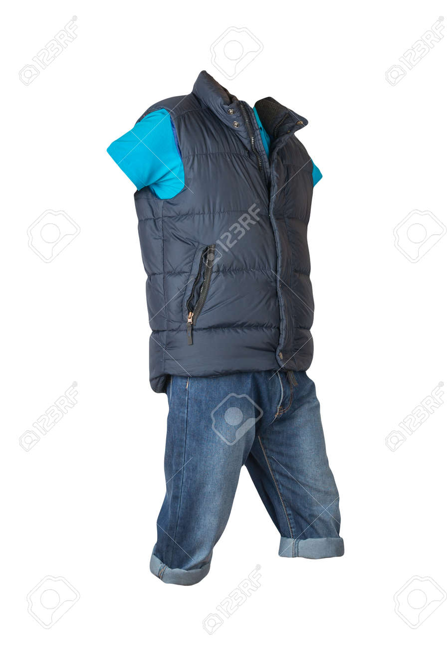 denim dark blue shorts, blue t-shirt with collar on buttons and dark blue sleeveless jacket isolated on white background - 172079130