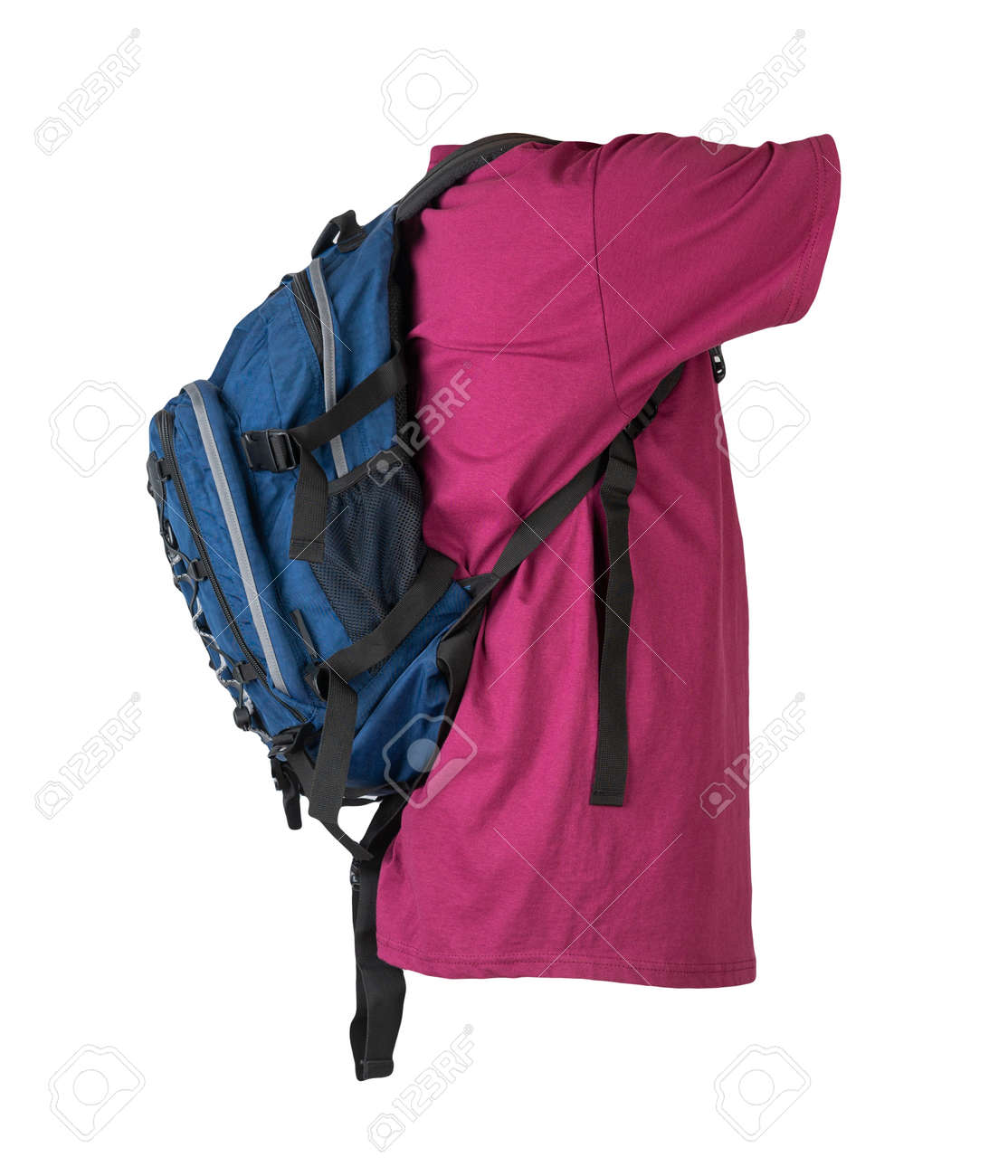 dark blue backpack dressed for burgundy t-shirt isolated on a white background. - 172073900