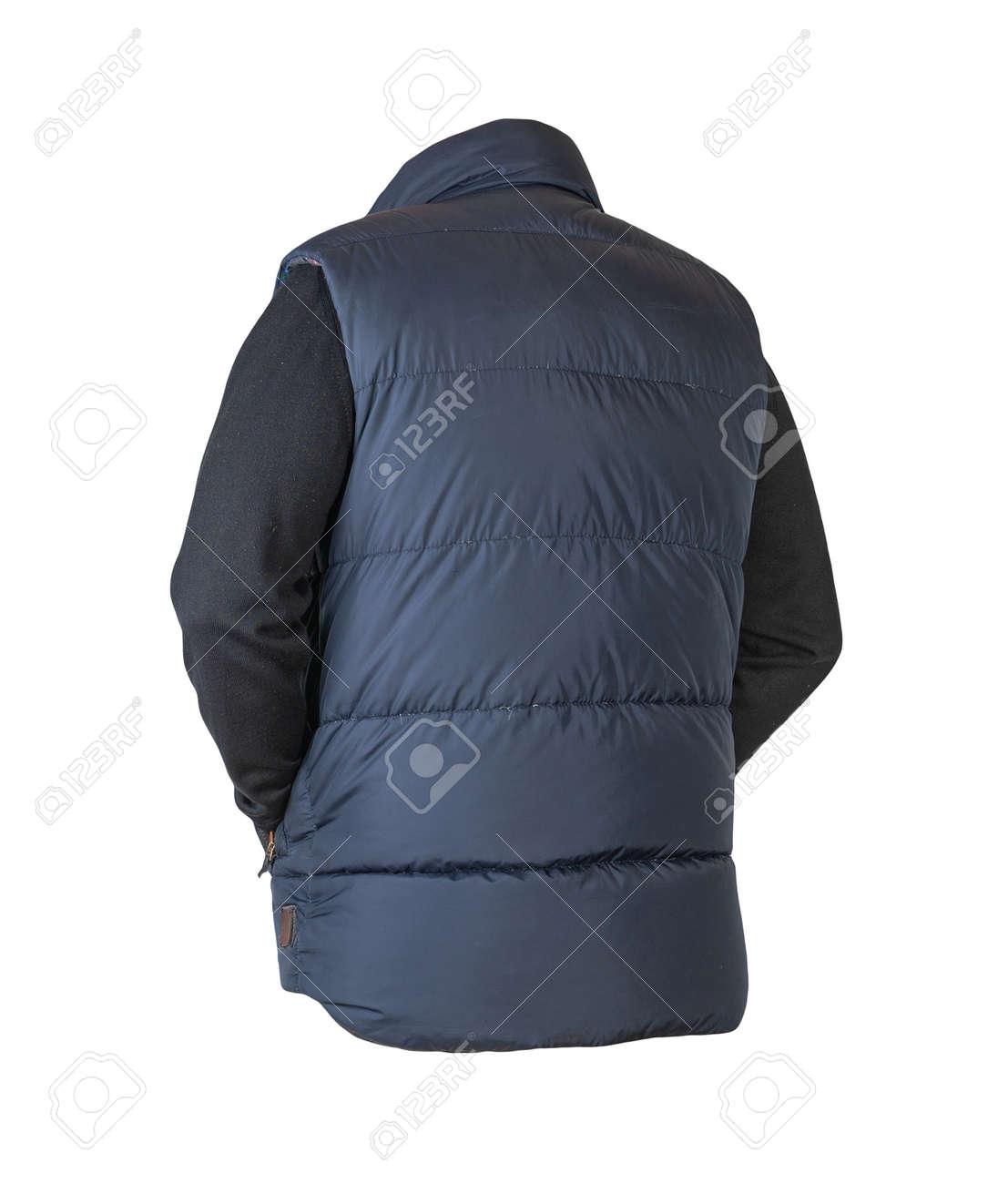 dark blue sleeveless jacket and black sweater isolated on white background. casual wear - 172073704