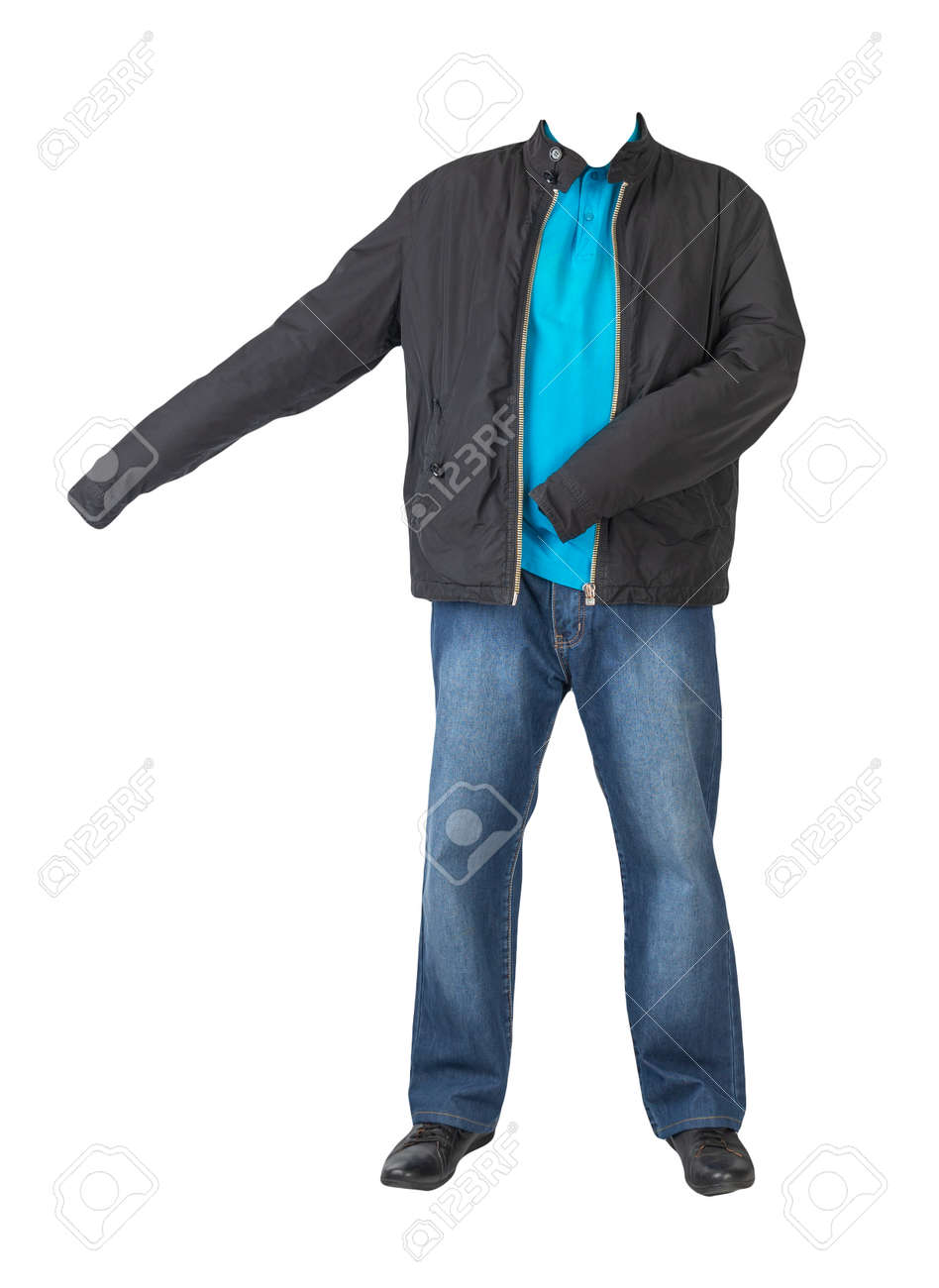 dark blue jeans, blue t-shirt with a collar on buttons, black jacket and black leather shoes isolated on white background - 172073767