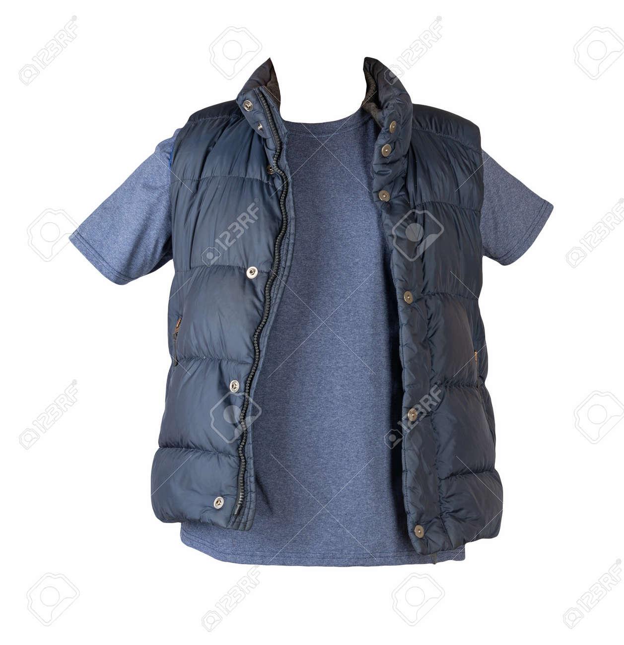 dark blue sleeveless jacket and navy t-shirt isolated on white background - 172115046