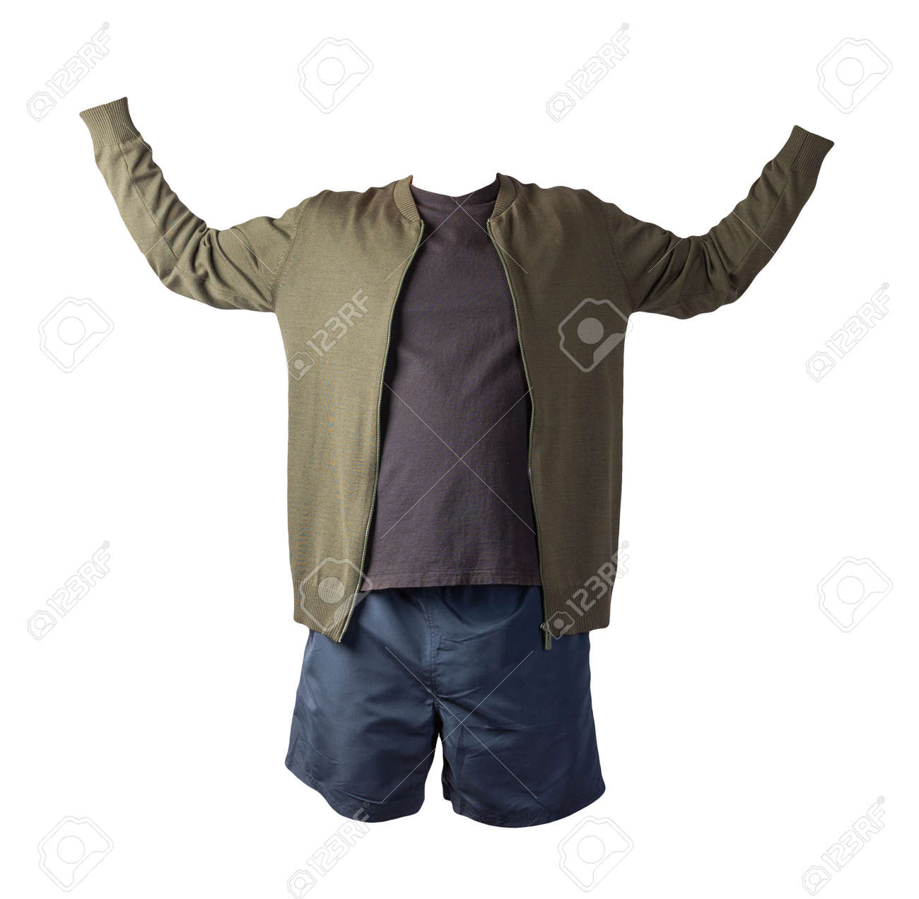 mens dark green knitted bomber jacket, black t-shirt and dark blue sports shorts isolated on white background. fashionable casual wear - 172073842