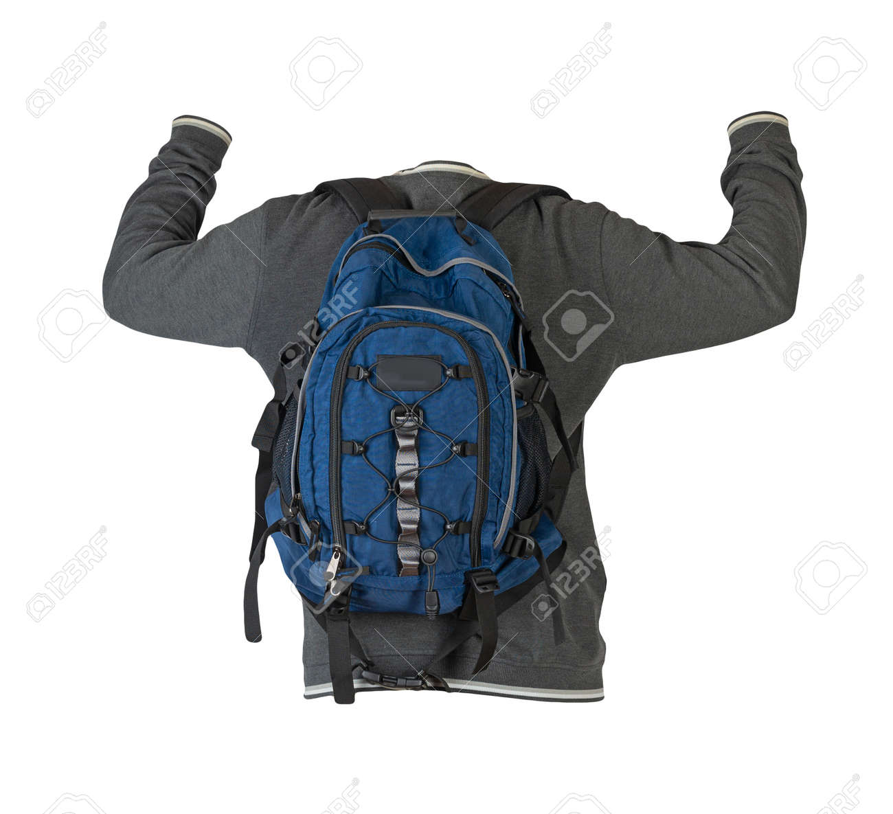 gray sweatshirt and blue backpack insulated on white background - 172073959