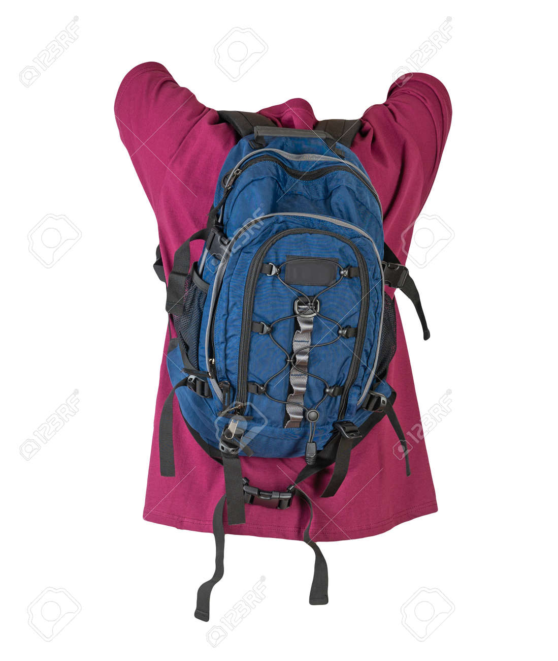 dark blue backpack dressed for burgundy t-shirt isolated on a white background. - 172140030