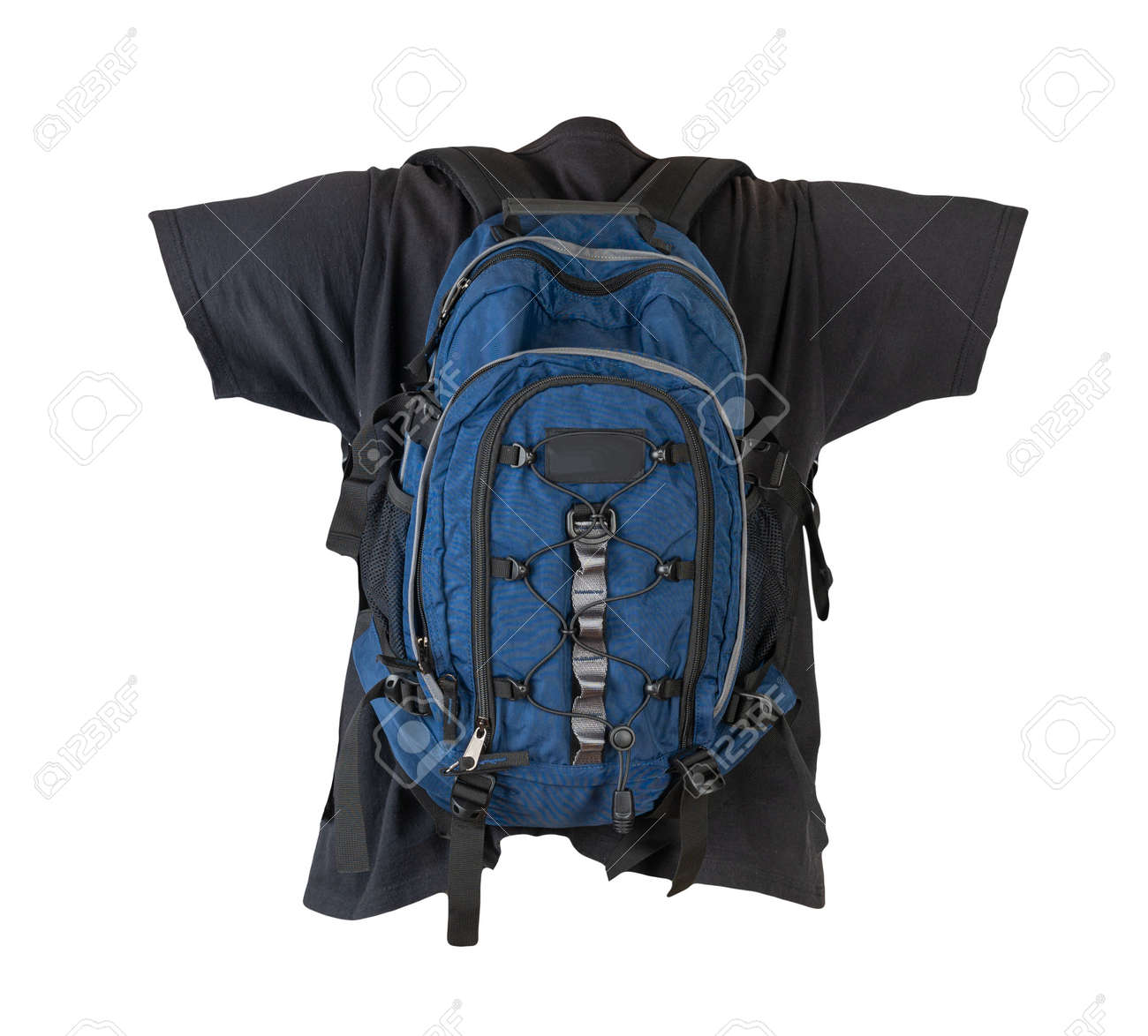 dark blue backpack dressed for black t-shirt isolated on a white background. - 172140032