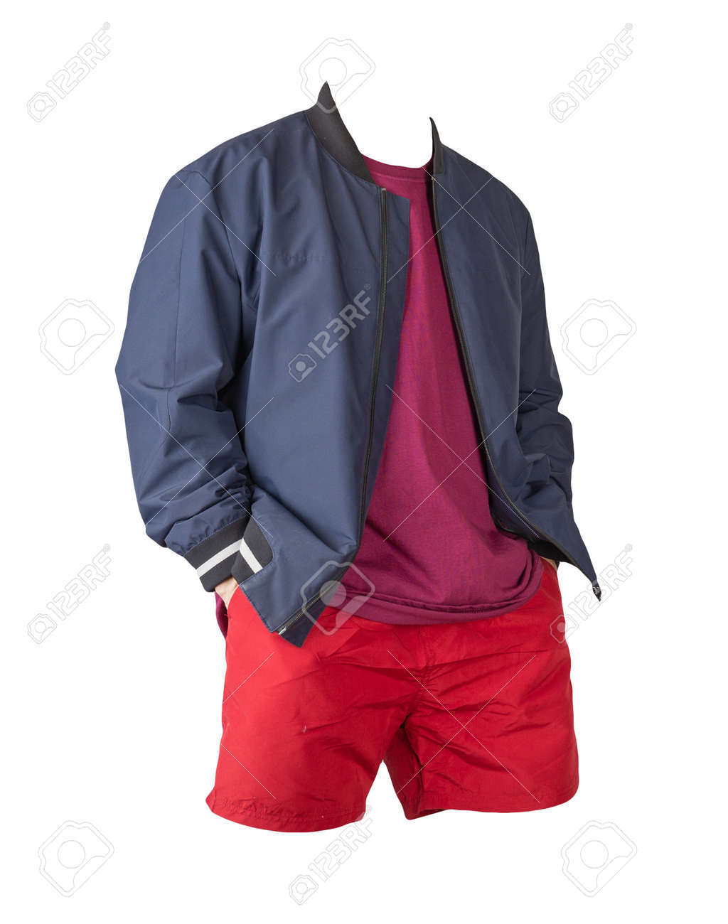 mens dark blue bomber jacket, burgundy t-shirt and sports red shorts isolated on white background. fashionable casual wear - 172140034
