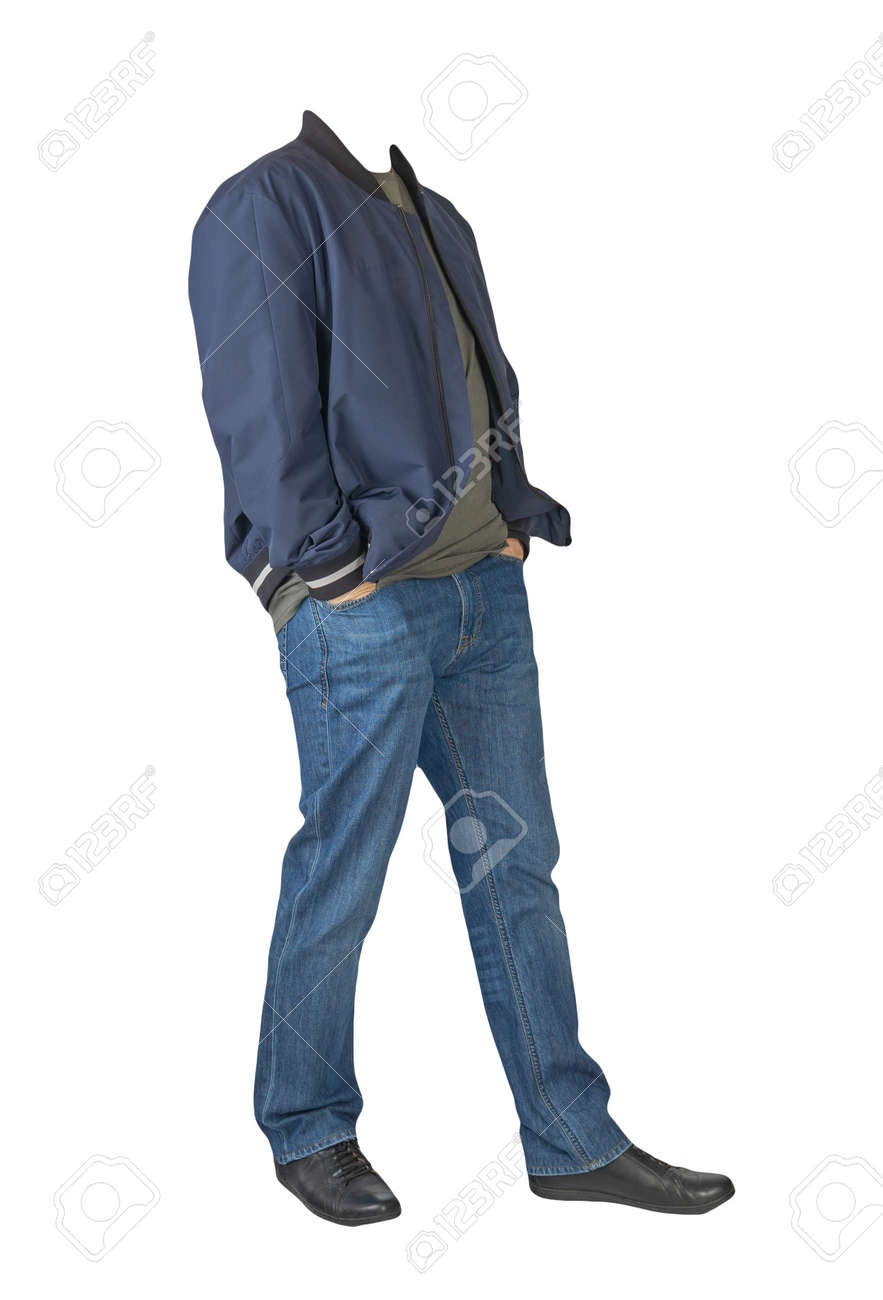 dark blue jeans, dark gray t-shirt, dark blue bomber jacket and black leather shoes isolated on white background - 172140036