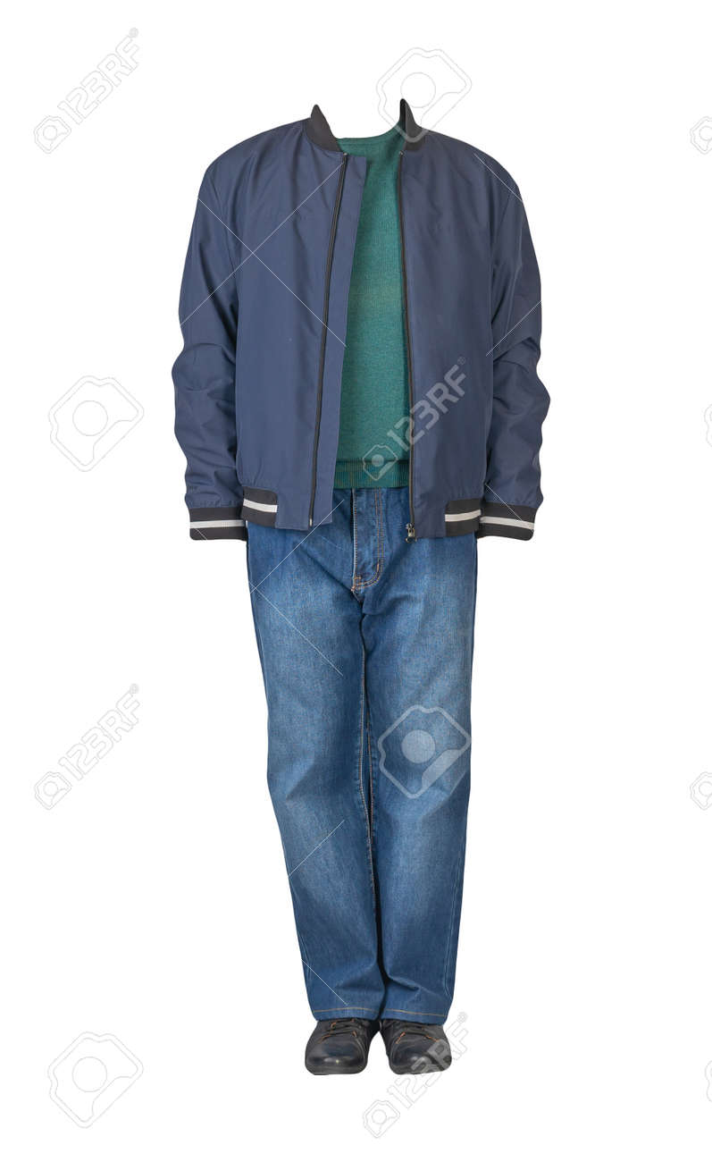 dark blue jeans, green sweater, dark blue bomber jacket and black leather shoes isolated on white background. Casual style - 172140040