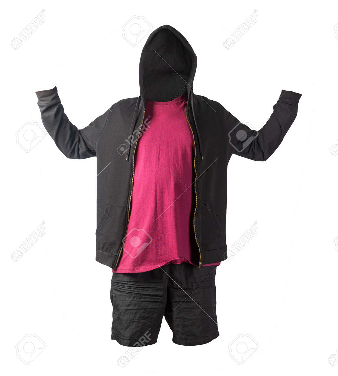 black sweatshirt with iron zipper hoodie, burgundy t-shirt and black sports shorts isolated on white background. casual sportswear - 172140041