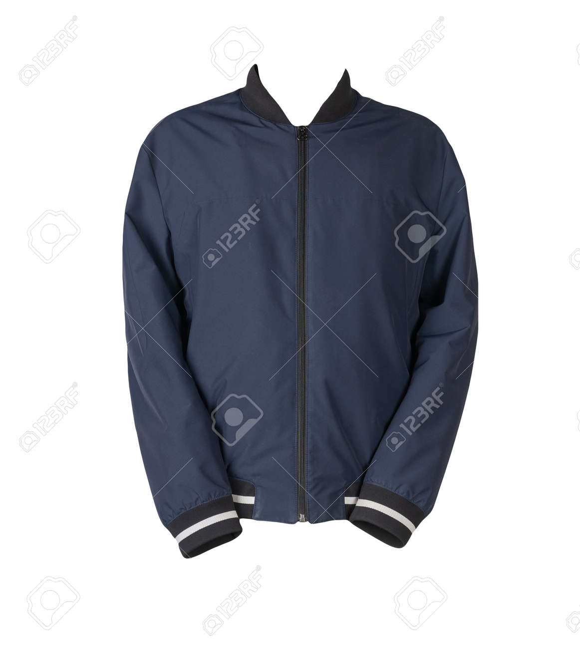 mens dark blue bomber jacket isolated on white background. fashionable clothes for every day - 172140052
