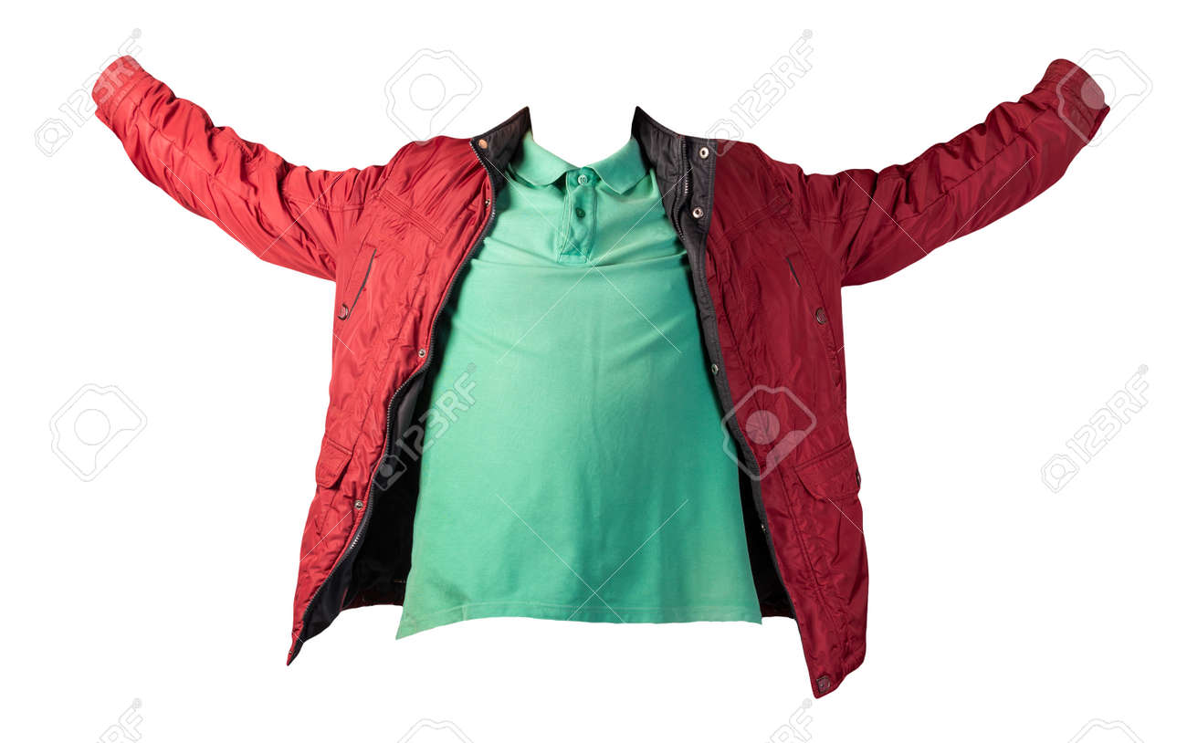 men's green t-shirt and dark red jacket zipper isolated on white background.casual clothing - 172140055