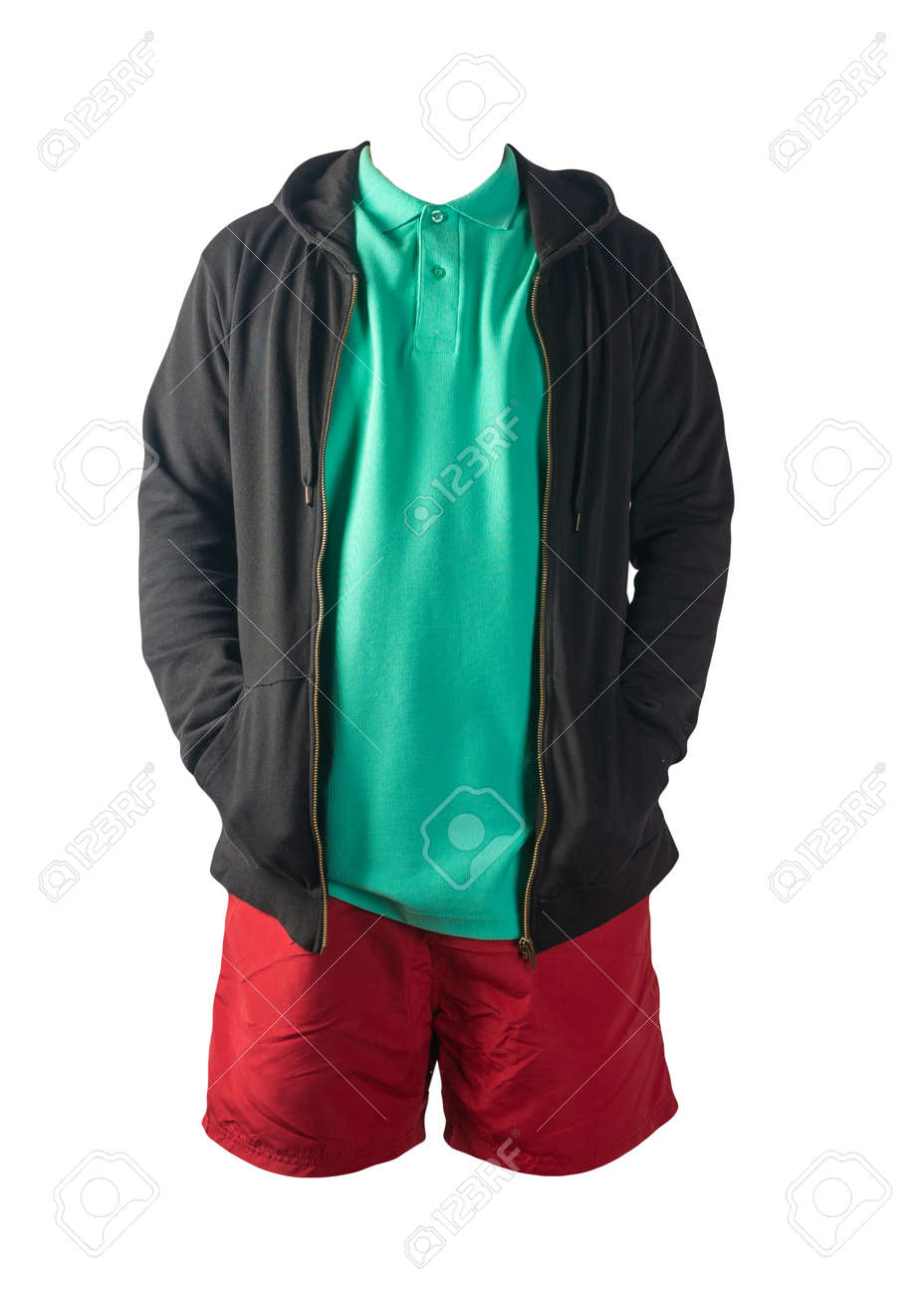 black sweatshirt with iron zipper hoodie, green t-shirt and red sports shorts isolated on white background. casual sportswear - 172140057