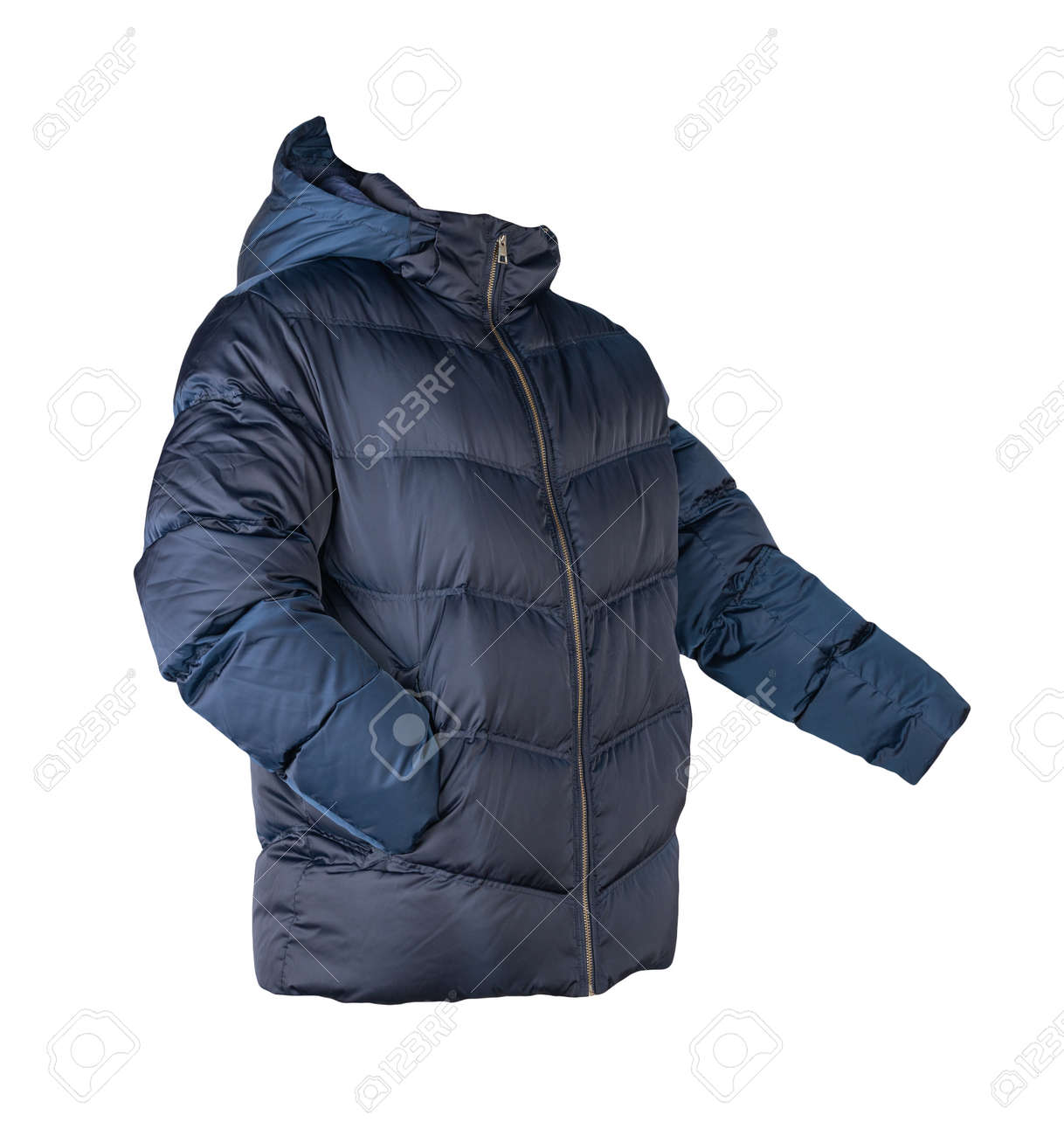 mens dark blue down jacket with hood isolated on white background. fashionable clothes for every day - 172140066