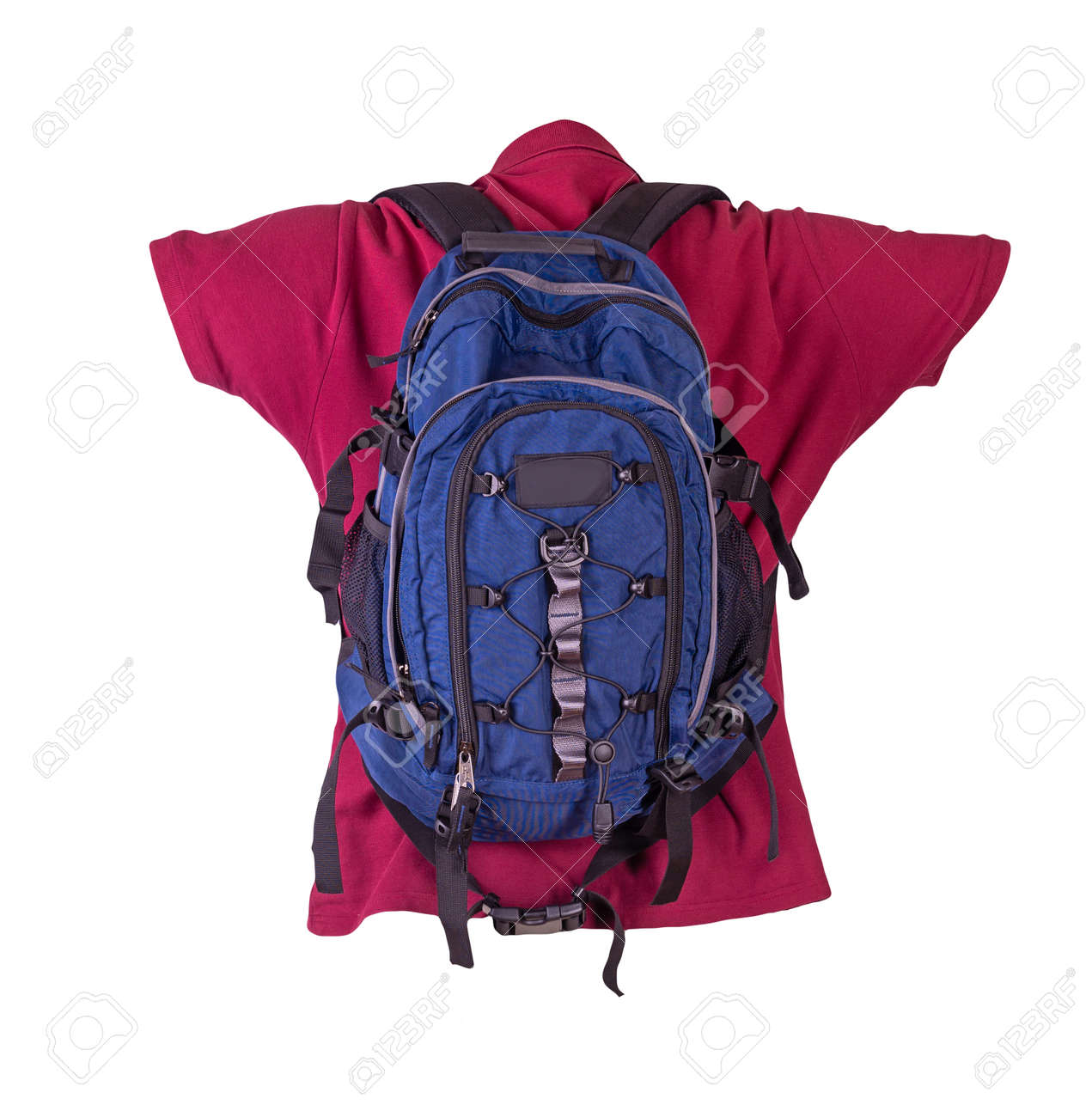 blue backpack dressed for burgundy t-shirt isolated on a white background. backpack and male sweater view from the back - 172144316