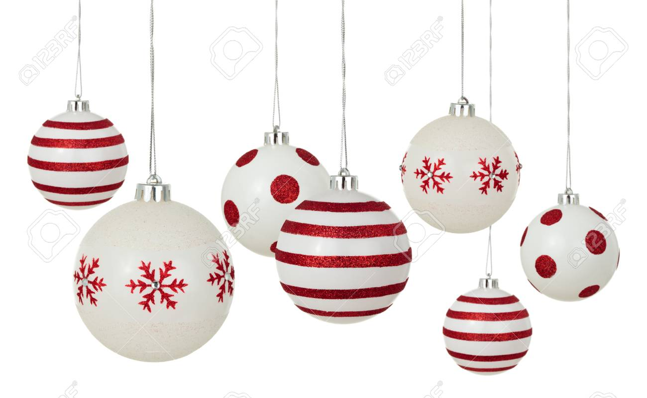 White Christmas Balls With Painted Red Patterns Hanging In A Stock