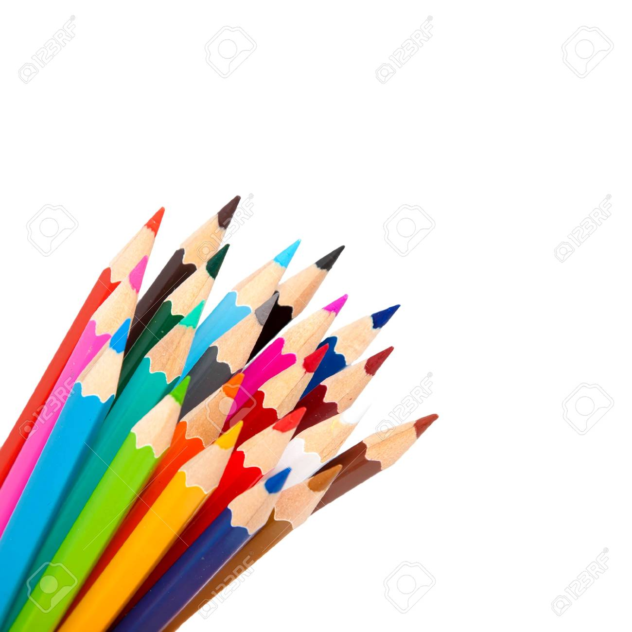 color pencils as a bunch or bouquet isolated on a white background Stock Photo - 15162418
