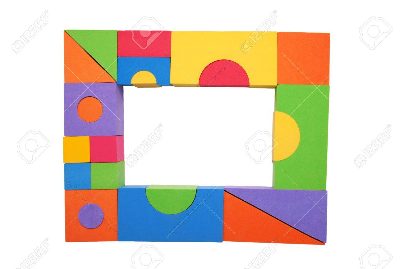 Frame Of Colorful Children S Building Blocks Place For Your.. Stock ...