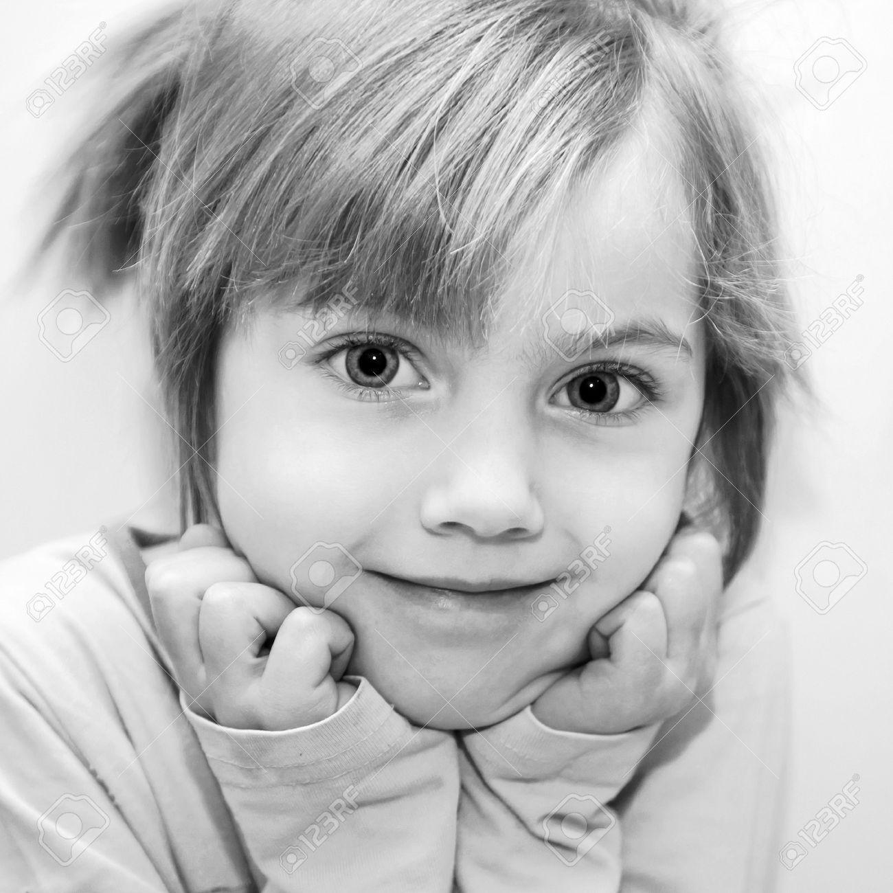 51ef1aeeb44 Black and white portrait of beautiful funny little girl. Stock Photo -  17785198