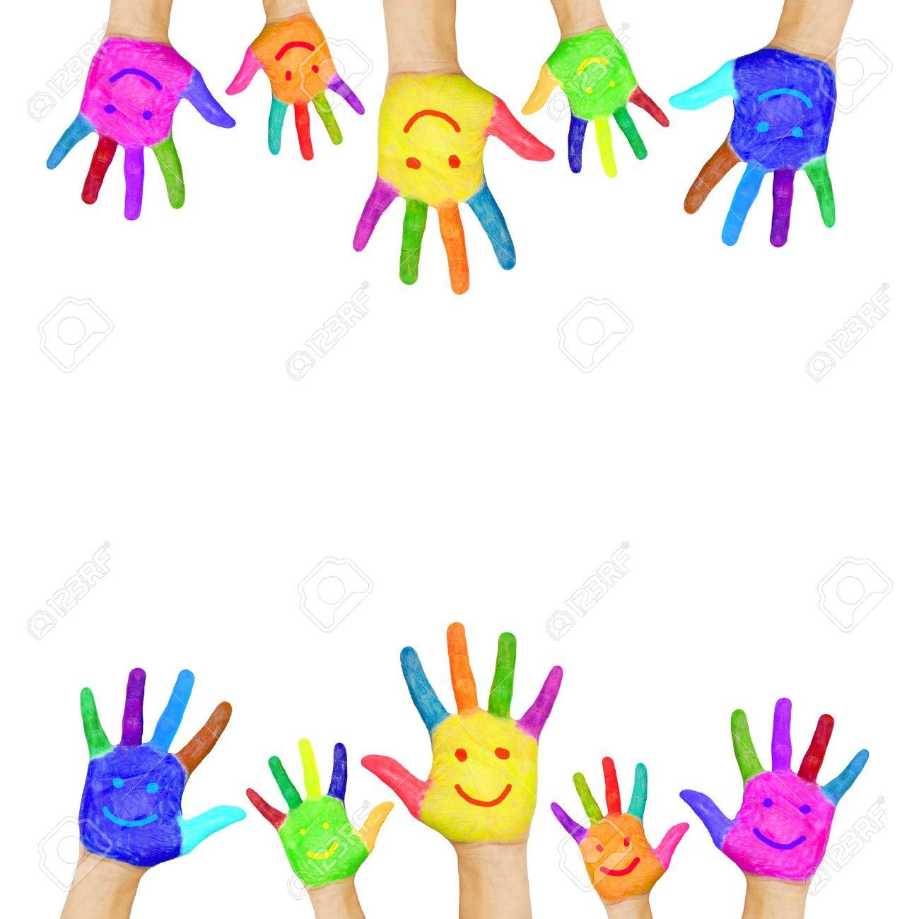 Marco De Las Manos De Colores Pintados Con Caras Sonrientes ...