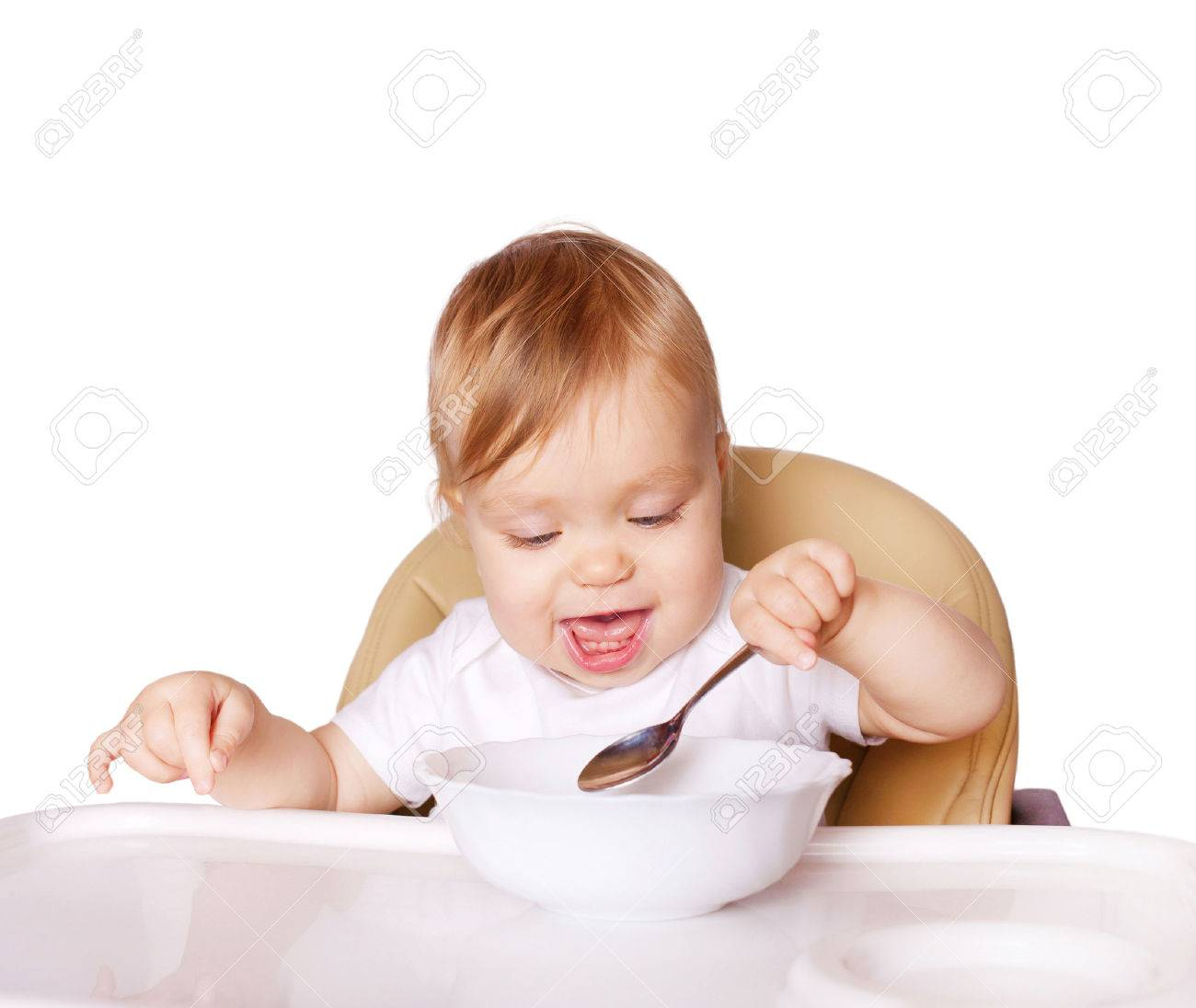 Hoge Stoel Baby.Baby Eten Met De Linkerhand En Zitten In Een Hoge Stoel Voor Het