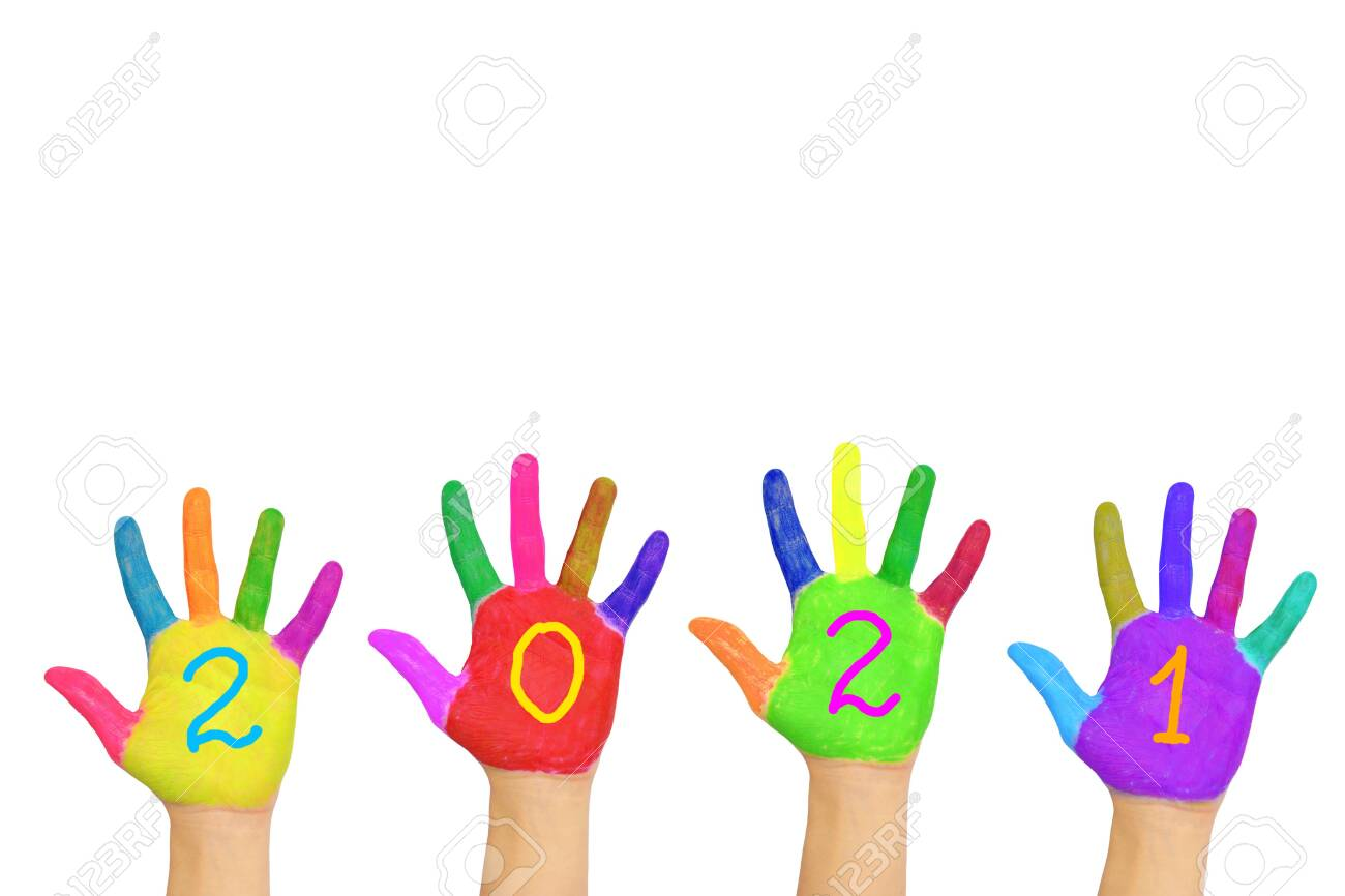 The number 2021 written on the brightly painted hands. New Year and holiday concept. Colorful palms, people are celebrating holidays. Isolated on a white background. - 156489207