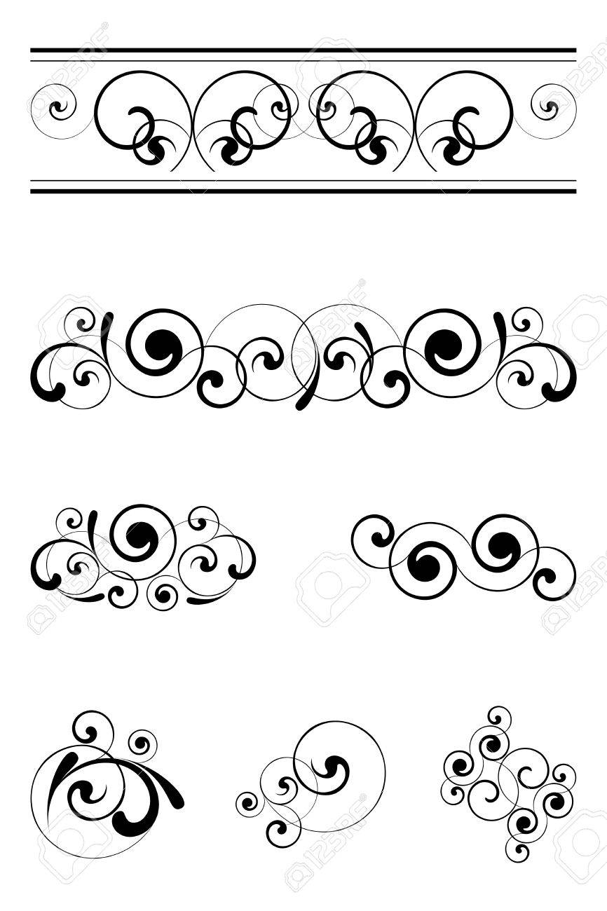 Black and white ornaments - Vector Black Floral Ornaments On A White Background