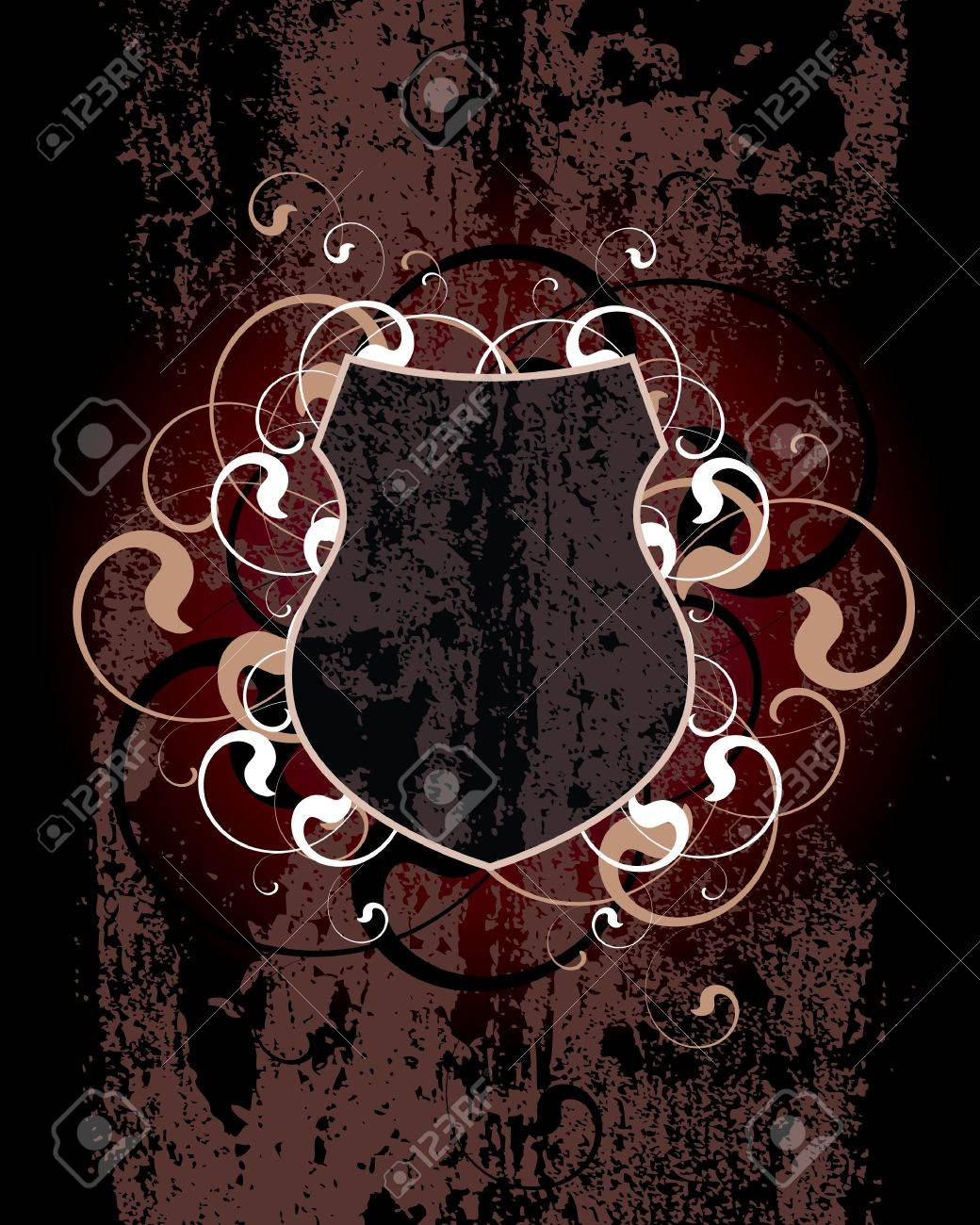 Dirty Shield on a dark-red background Stock Vector - 10138726