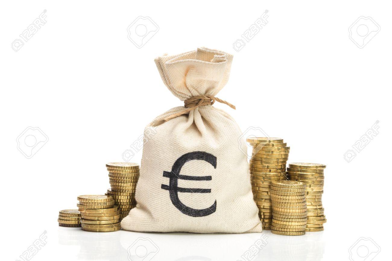 Geldbeutel Und Euro Münzen Isoliert Auf Weißem Hintergrund