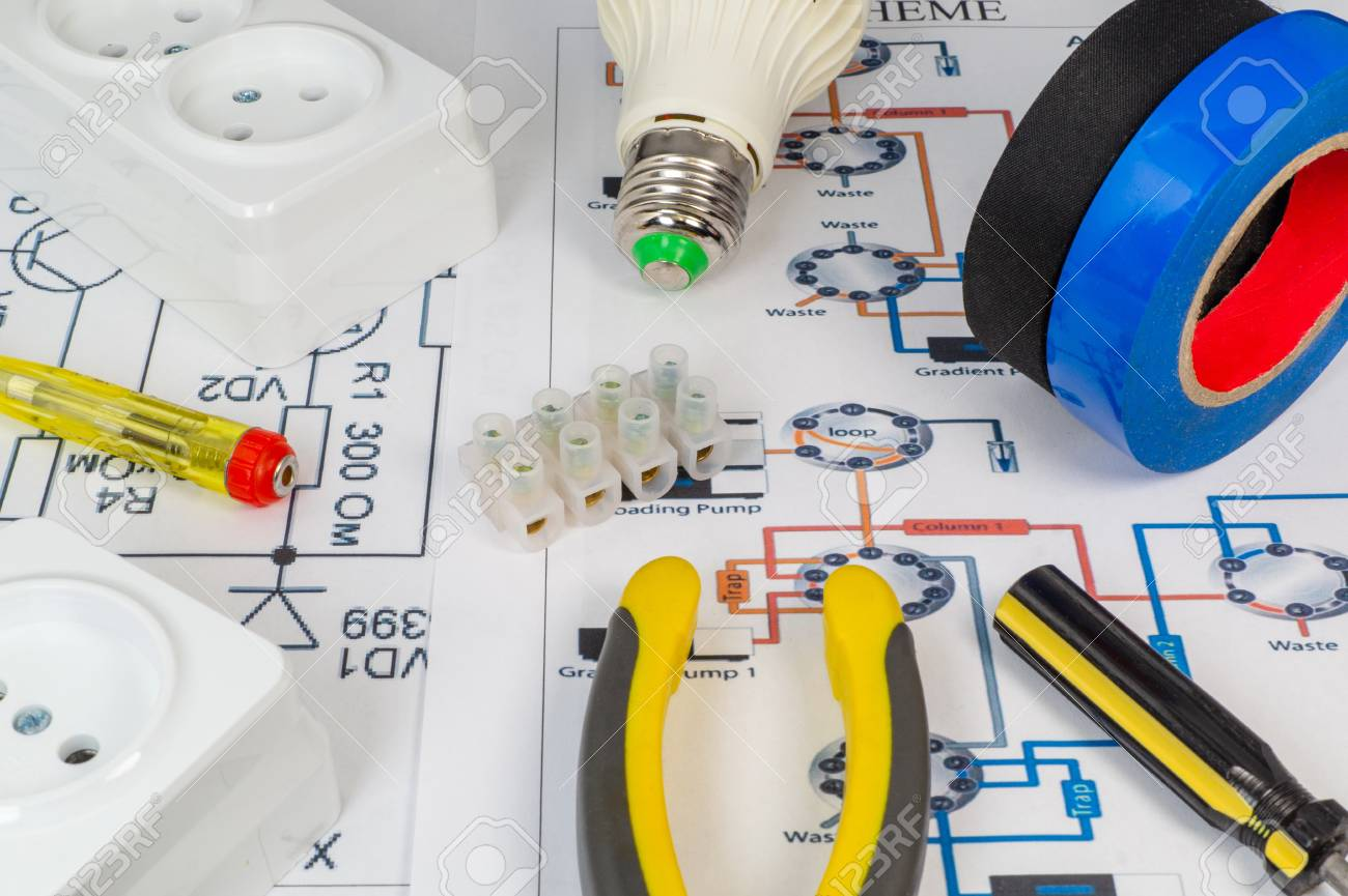 Tools for electricians and electrical outlets, lights on the