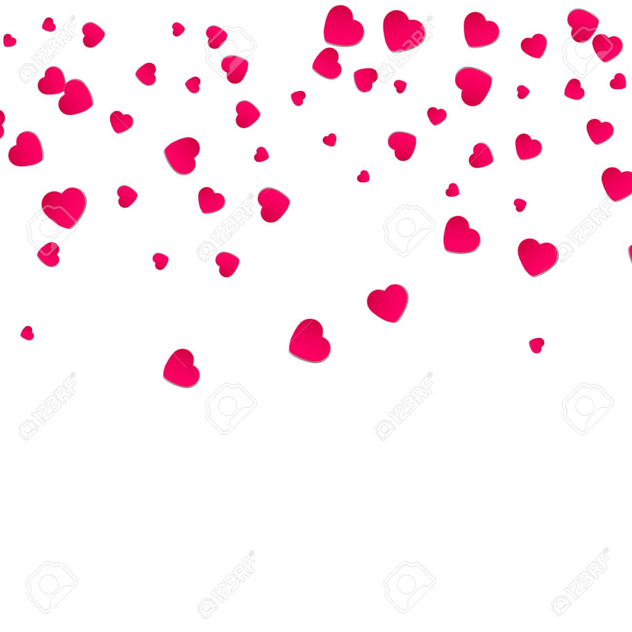 Red Pattern Of Random Falling Hearts Confetti Border Design