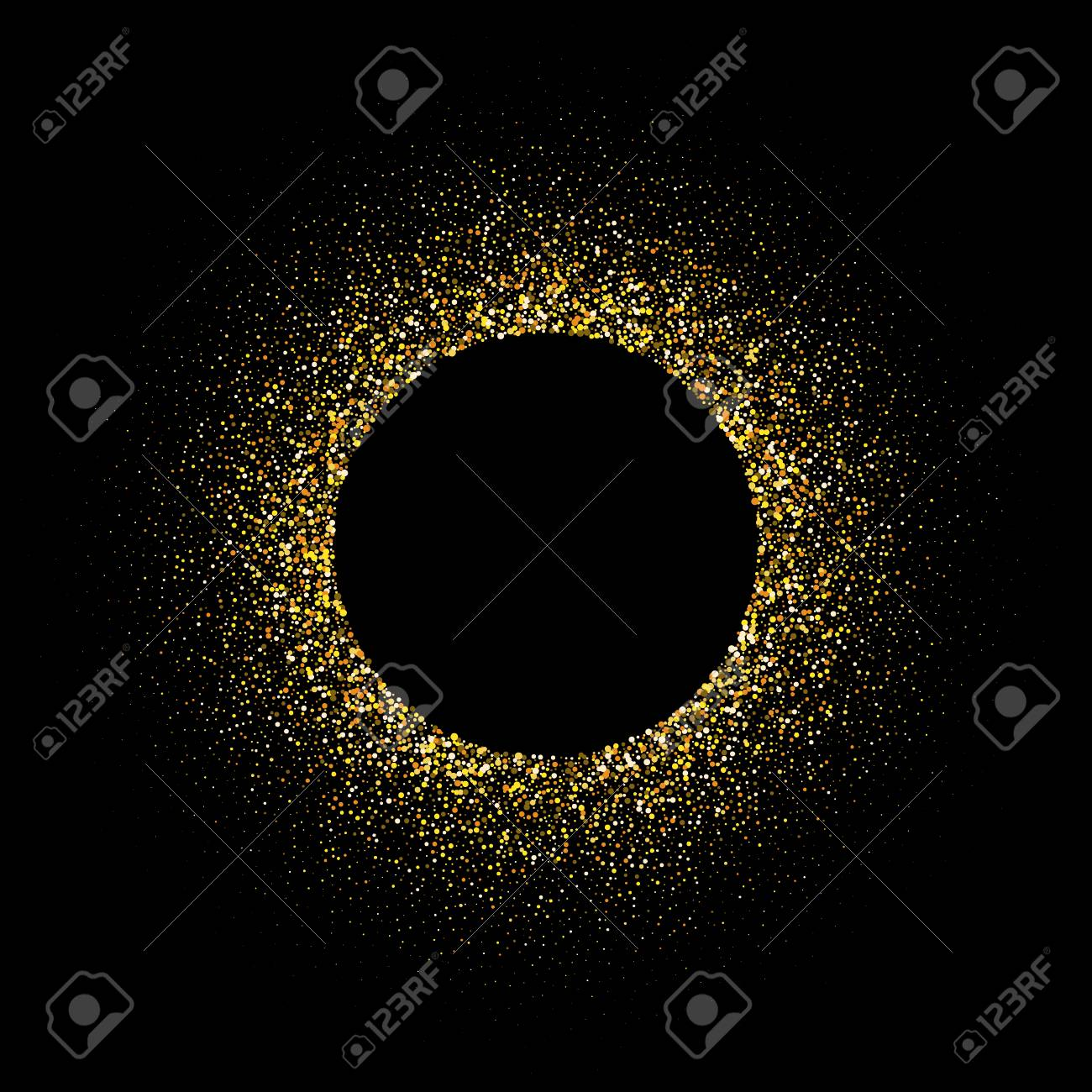 Golden glitter background with copy space. Golden star dust glam circle. - 133954427