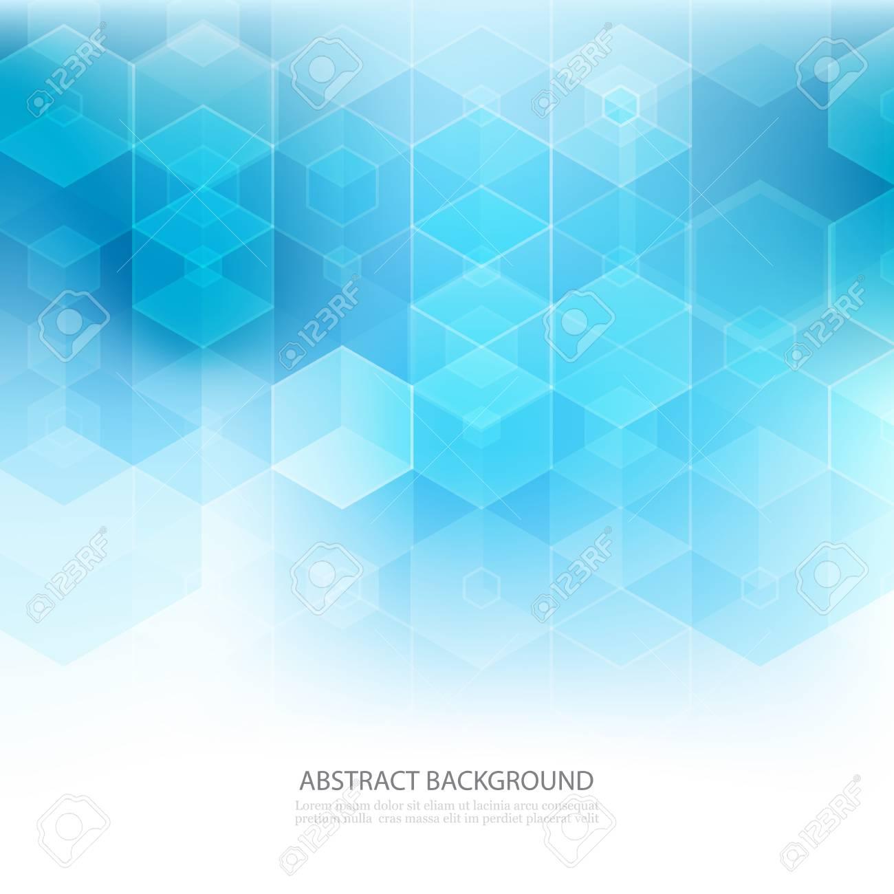Abstract geometric background. Template brochure design. Blue hexagon shape - 133954444