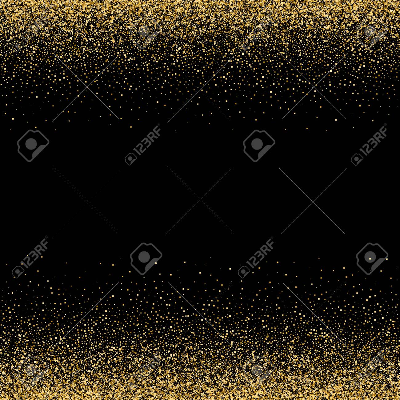 Sparkling glitter border, frame. Vector gold decoration. For wedding invitations, party posters, Christmas, New Year and birthday cards. - 135462842