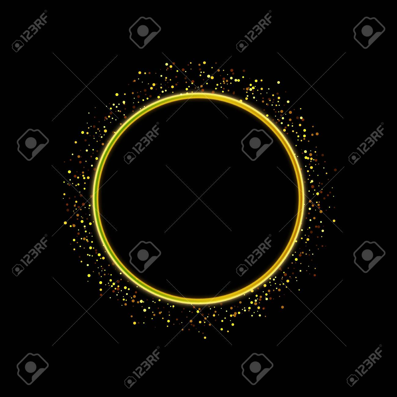 Festive golden sparkle background. Glitter border, circle frame. Black and gold vector dust. Great for christmas and birthday cards, valentine and wedding invitations, party posters. - 139589306