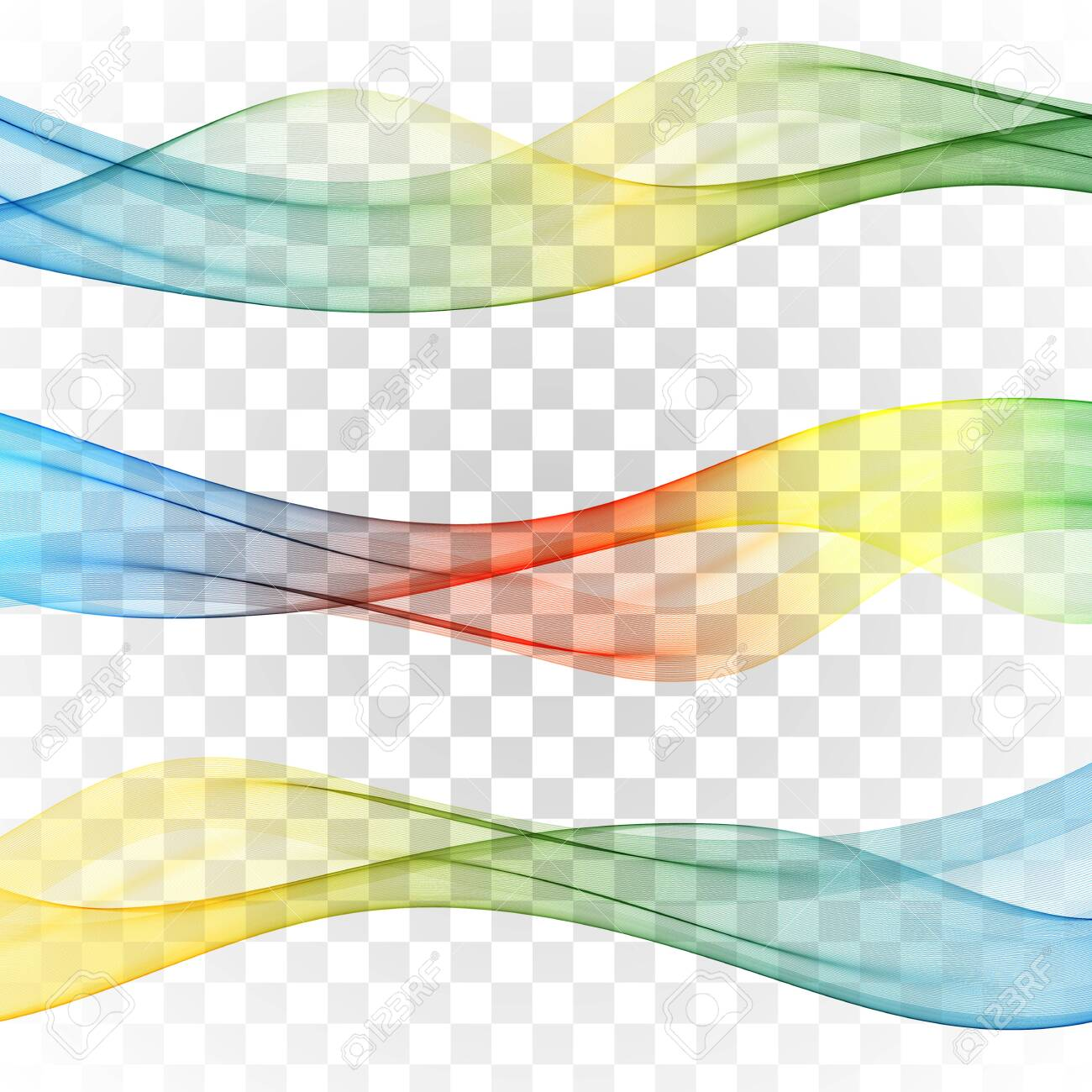 Set of abstract banners colored waves Set wave - 145977970