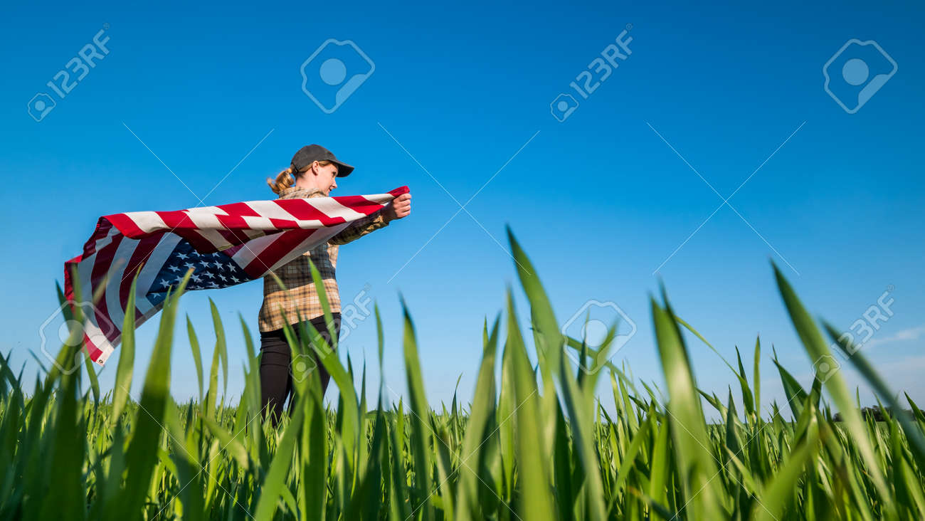 Wind swayes U.S. flag in the hands of a woman standing on a green wheat field - 165081825