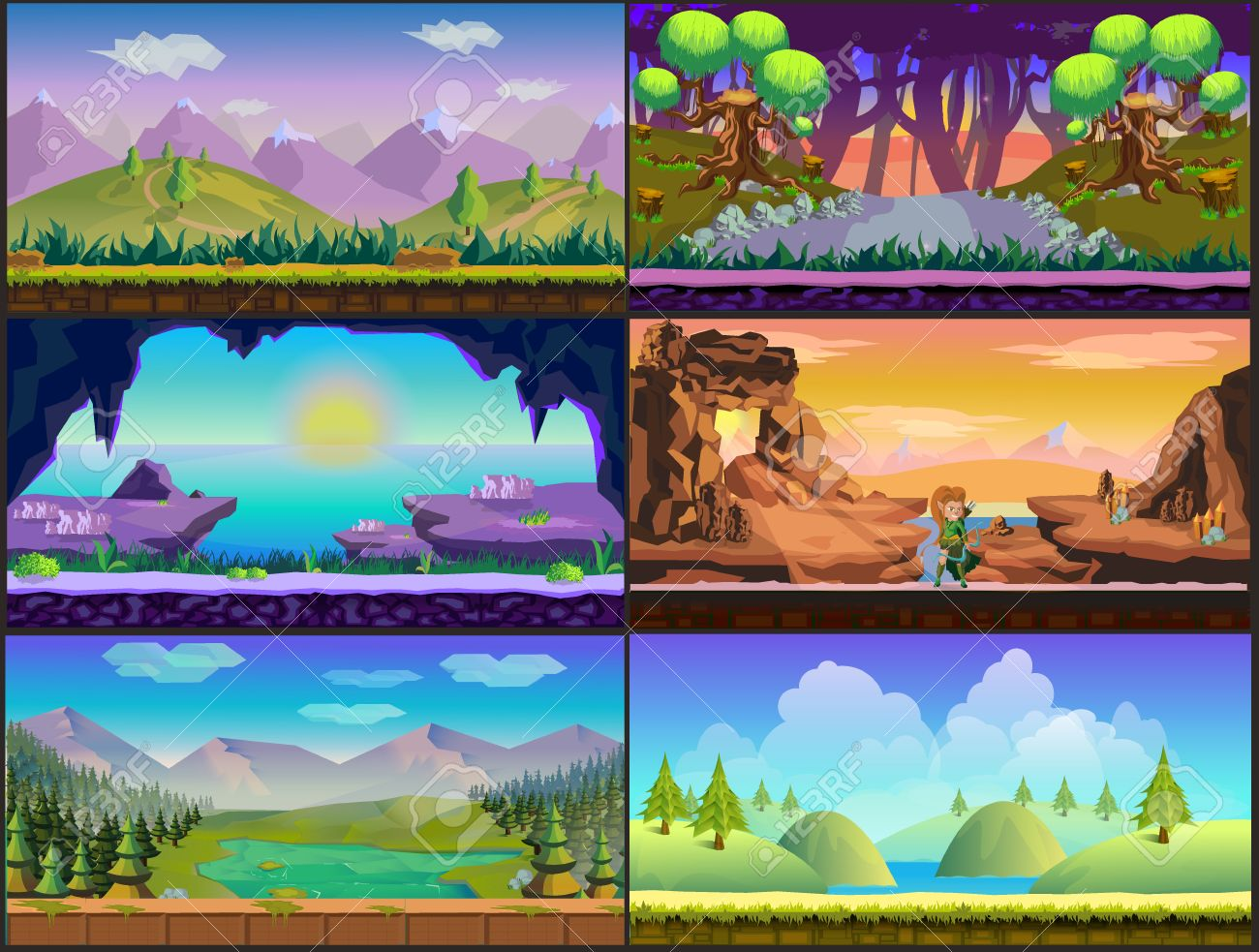 Cartoon Game Design Nature Landscape Background Stone Clouds Royalty Free Cliparts Vectors And Stock Illustration Image 59737874
