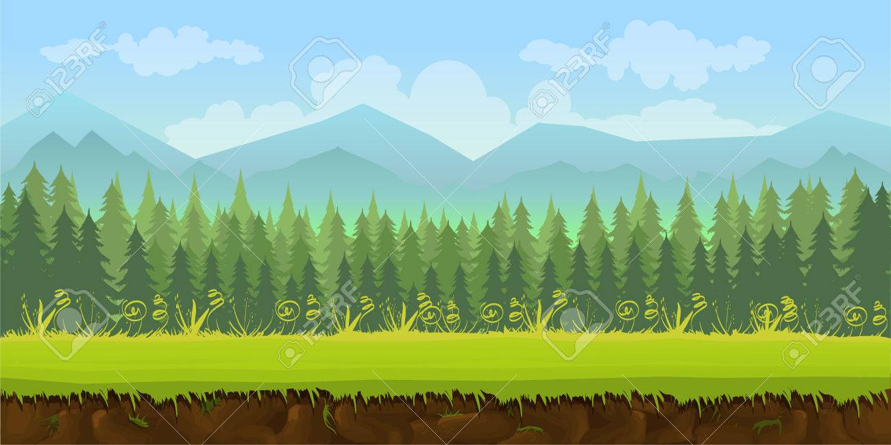 forest game background 2d game application. Vector design. Tileable horizontally. Size 1024x512. Ready for parallax effect - 59738002