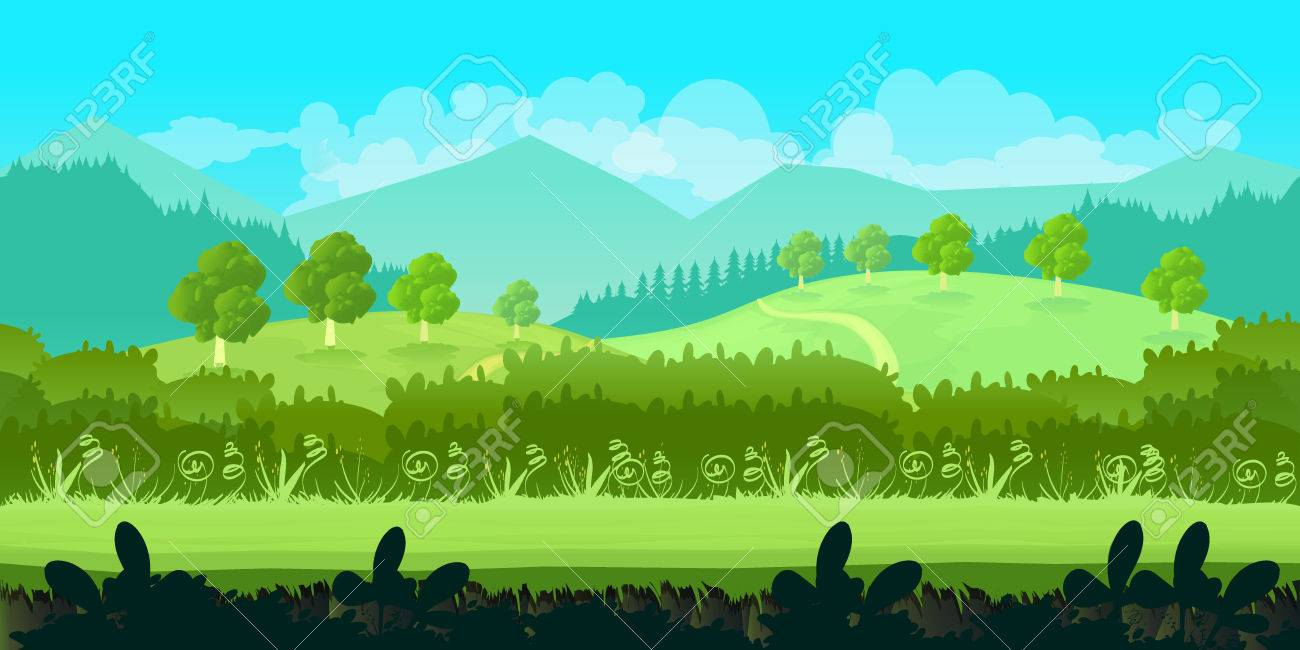 Game background .Cute cartoon seamless landscape with separated layers, summer day illustration - 59738008