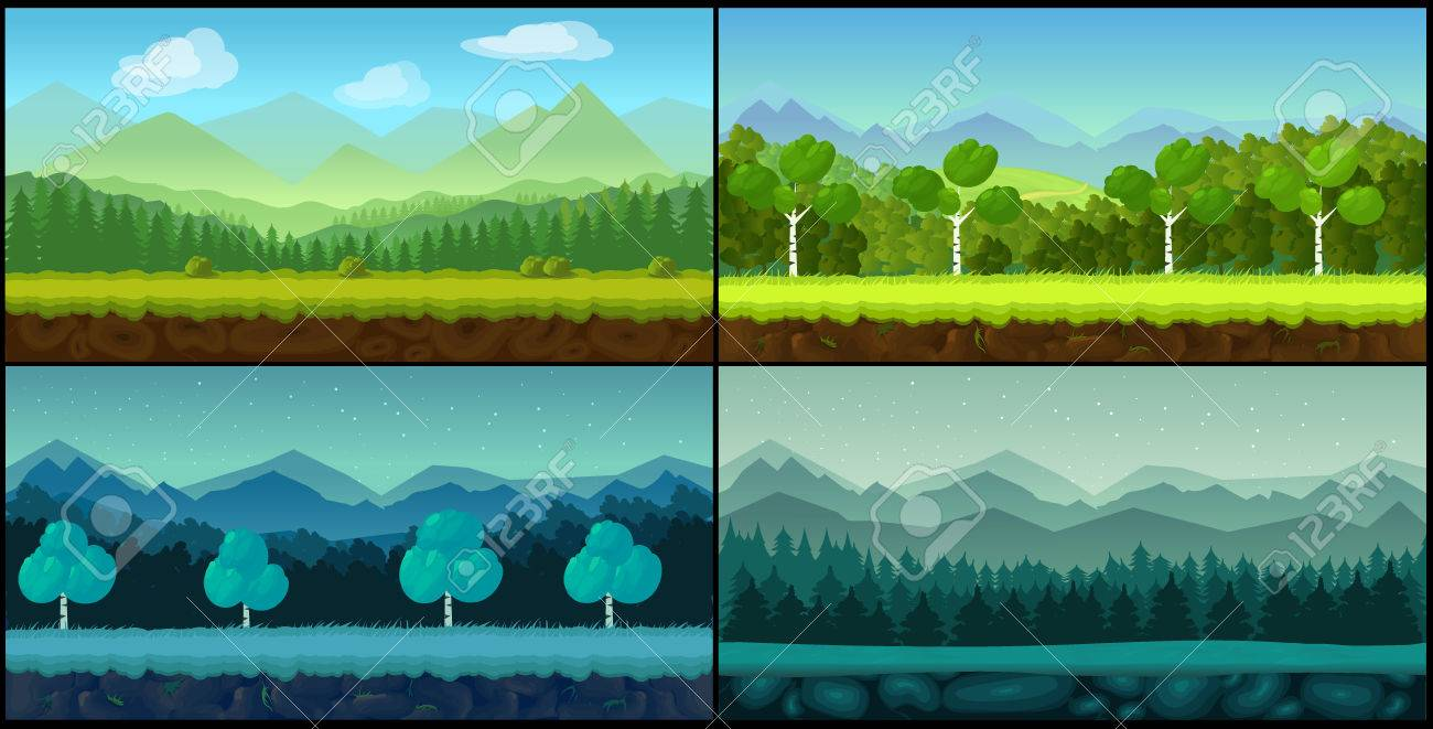 game backgrounds vector seamless set, 2d game application. vector