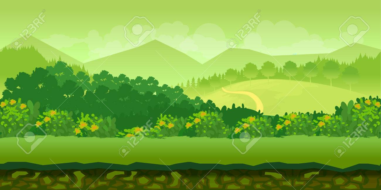 Cute cartoon seamless landscape with separated layers, summer day illustration - 59738075