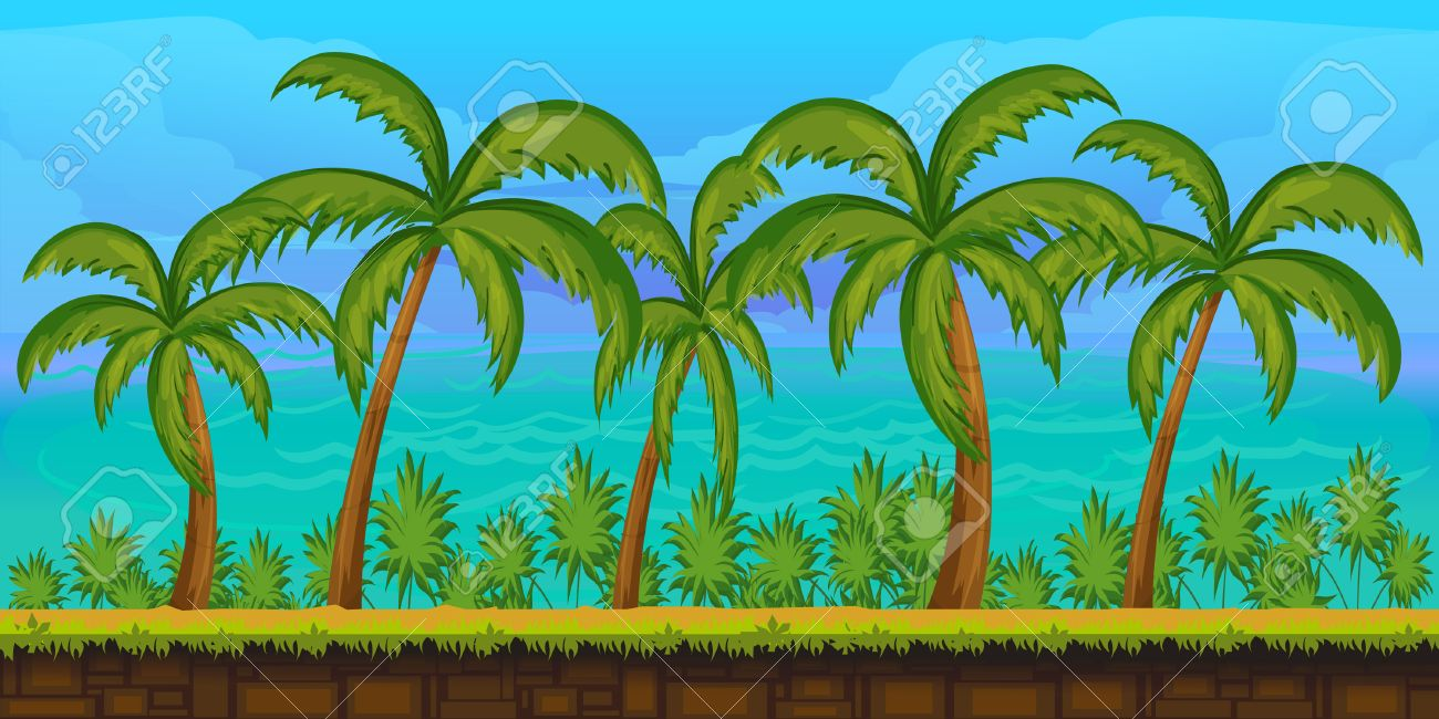 Seamless cartoon tropical landscape, unending background for game,1024x512 - 59738088
