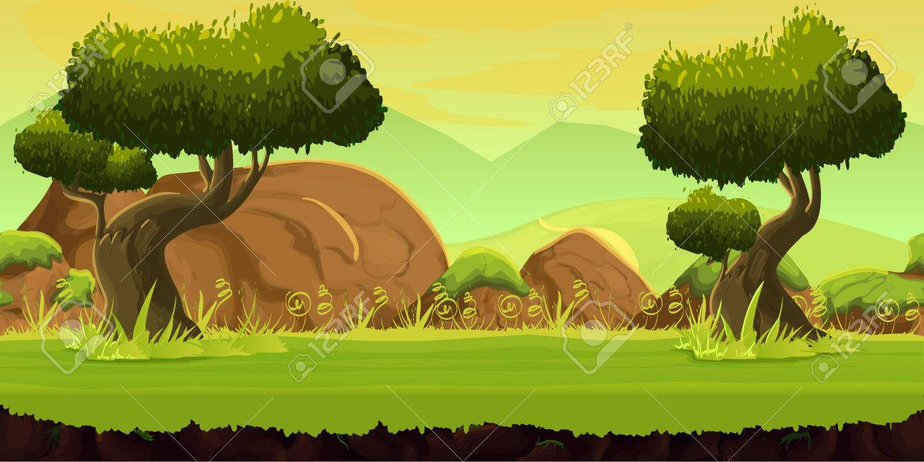 forest game background 2d game application. Vector design. Tileable horizontally. Size 1024x512. Ready for parallax effect - 62202704
