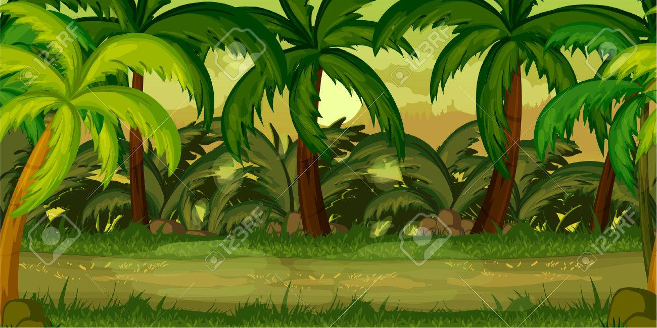forest landscape, never ending vector nature background with separated layers for game design - 62202708