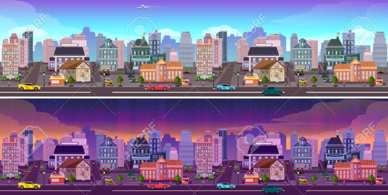 day and night city panorama day and night town background cityscape vector illustration