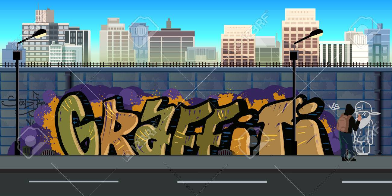 Graffiti wall vector free - Graffiti Wall Background Urban Art Vector Nature Background For Games Vector Illustration For