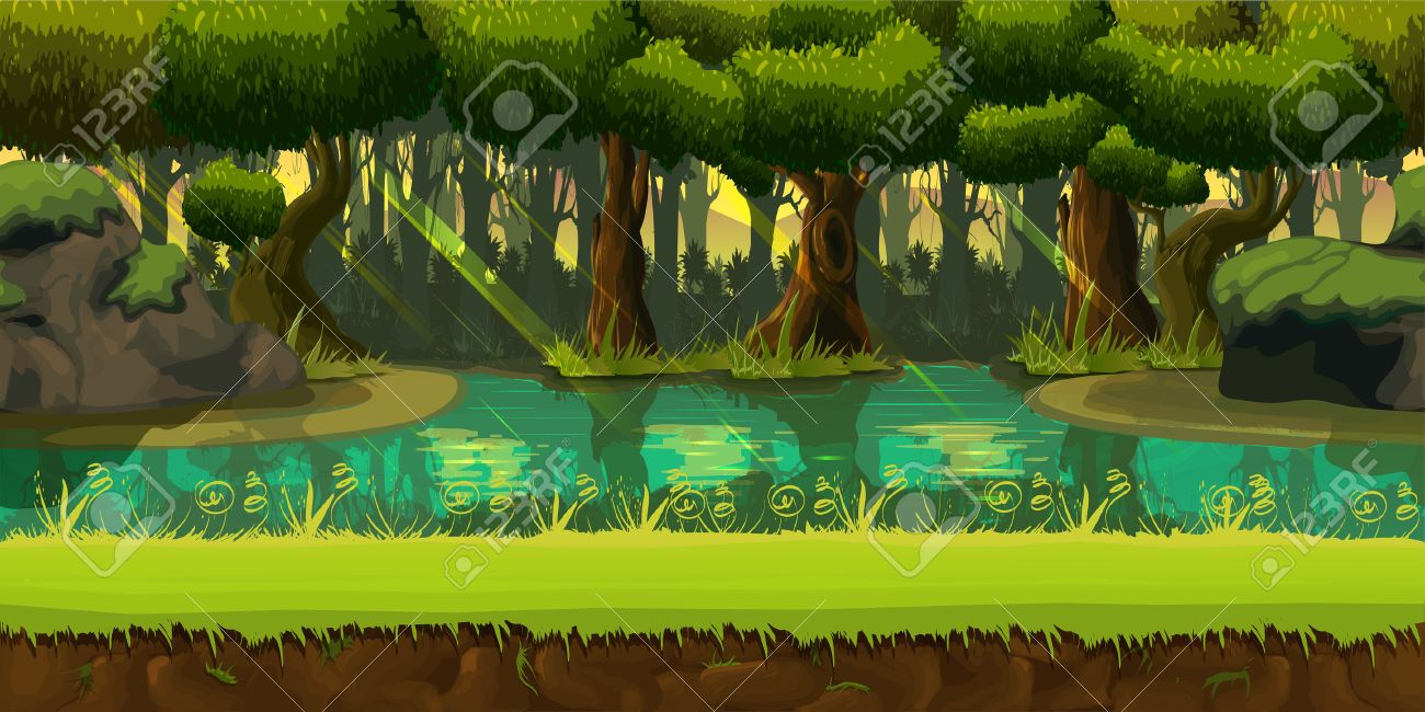Seamless spring forest landscape, never ending vector nature background with separated layers for game design .2d game application. Vector Illustration for your application , project. - 66898128
