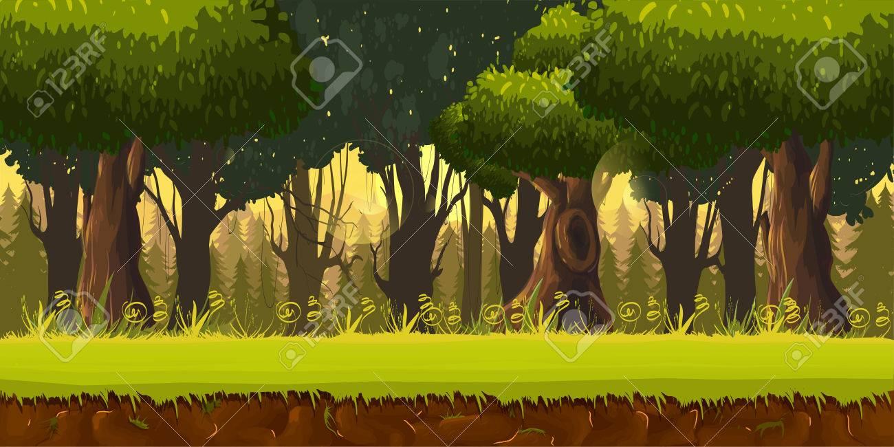 Seamless spring forest landscape, never ending vector nature background with separated layers for game design .2d game application. Vector Illustration for your application , project. - 66898129