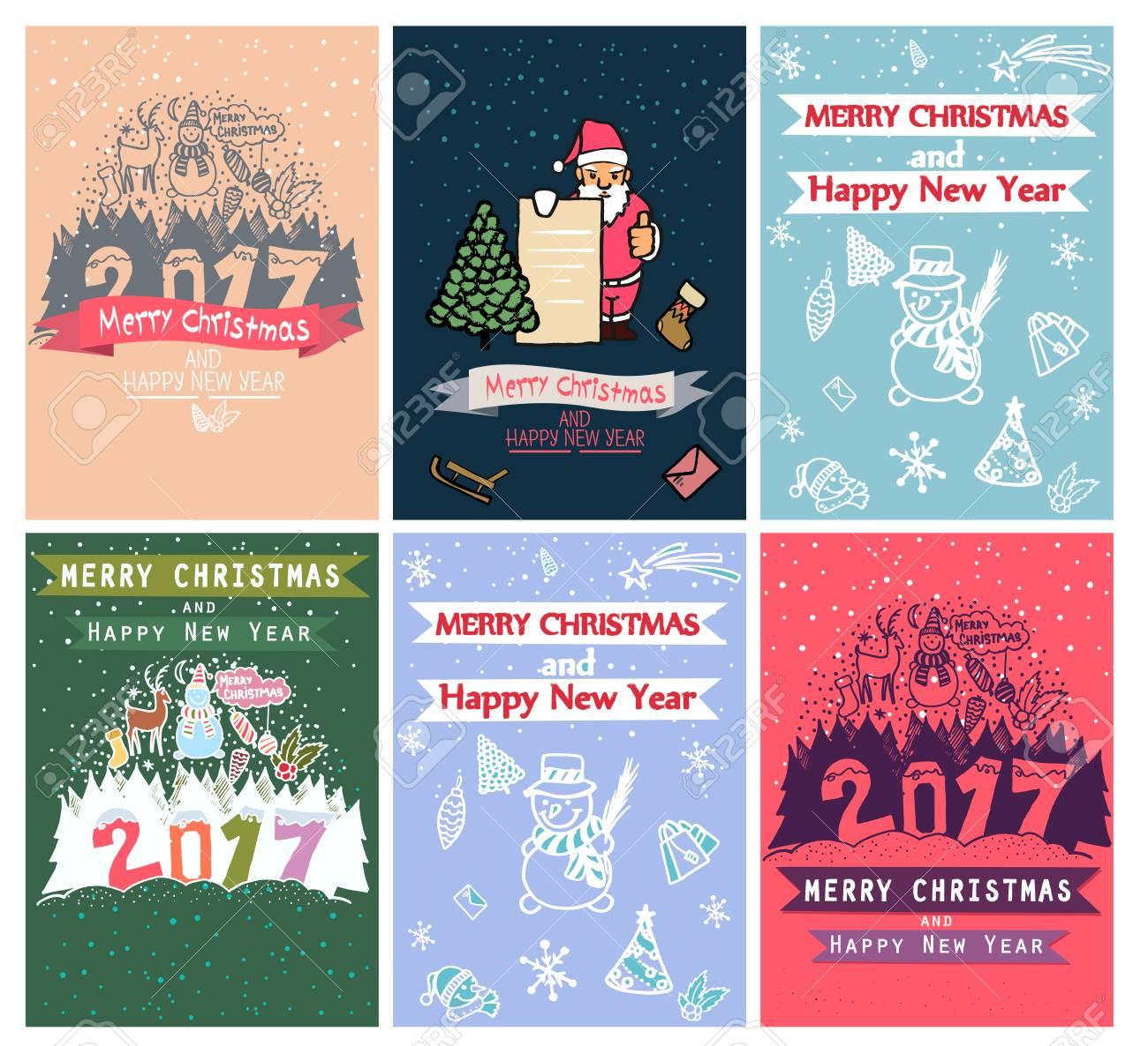 Colección De 6 Plantillas De Tarjetas De Navidad. Carteles De ...