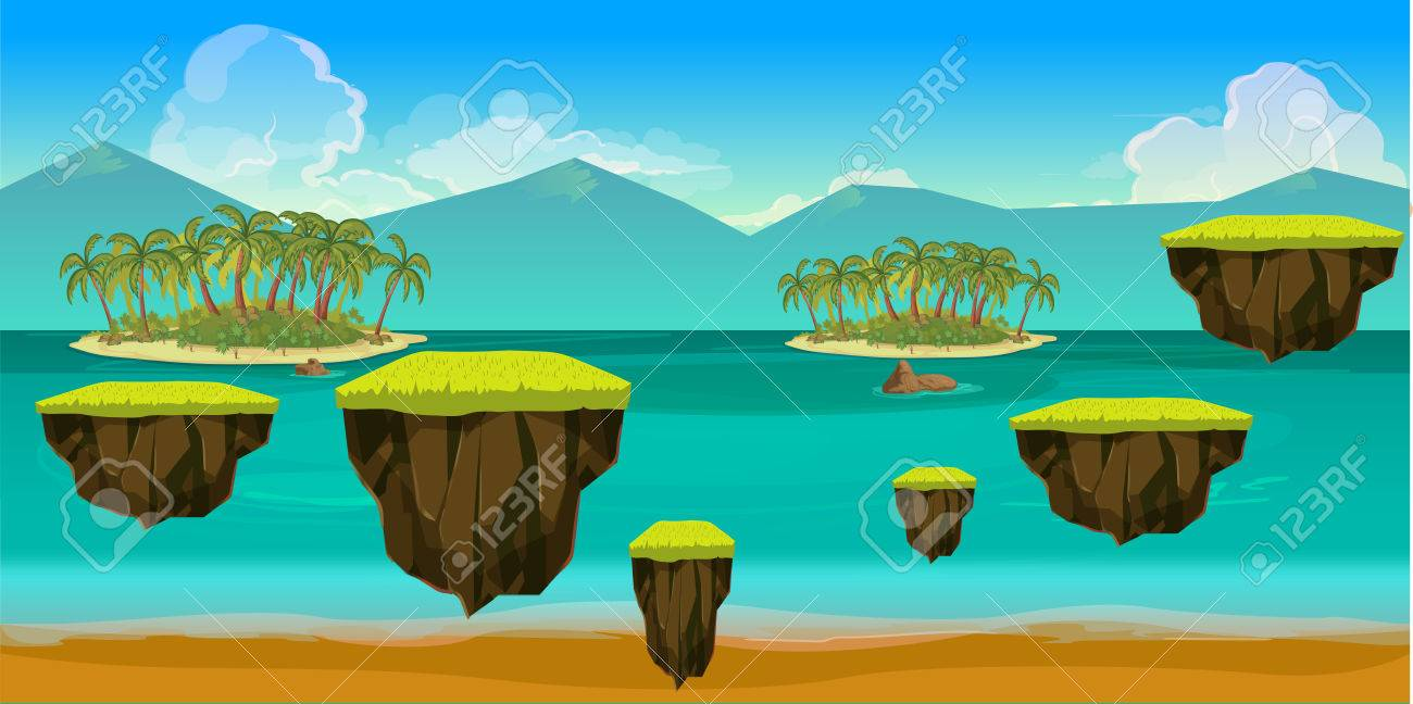 sea game background with islands and underwater life vector